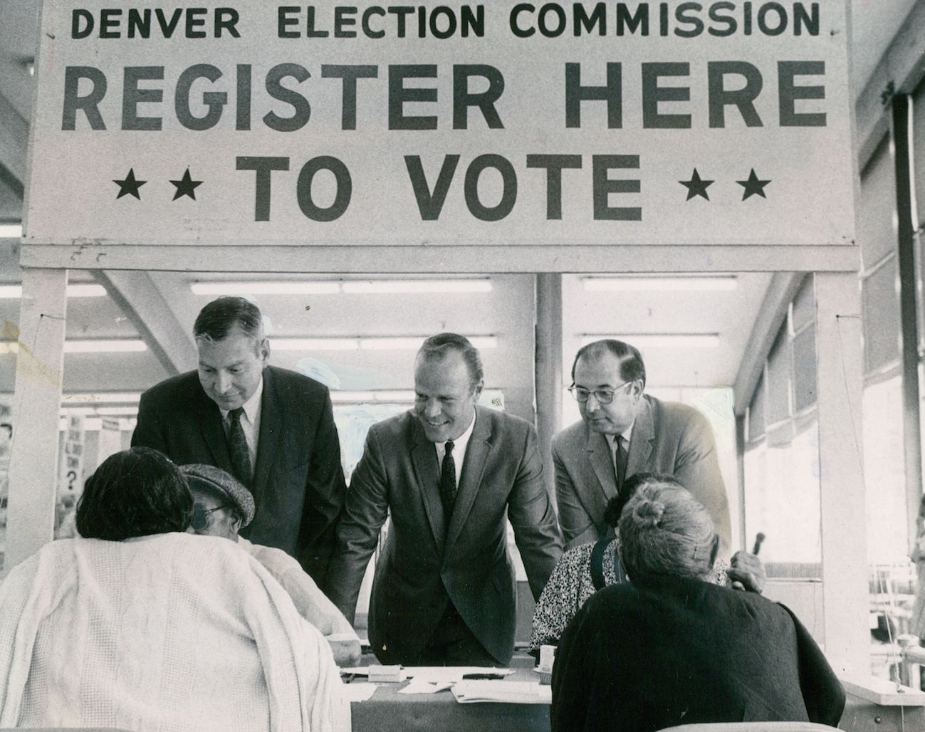 Denver election commissioners on hand for voter registration in Denver on July 9, 1968