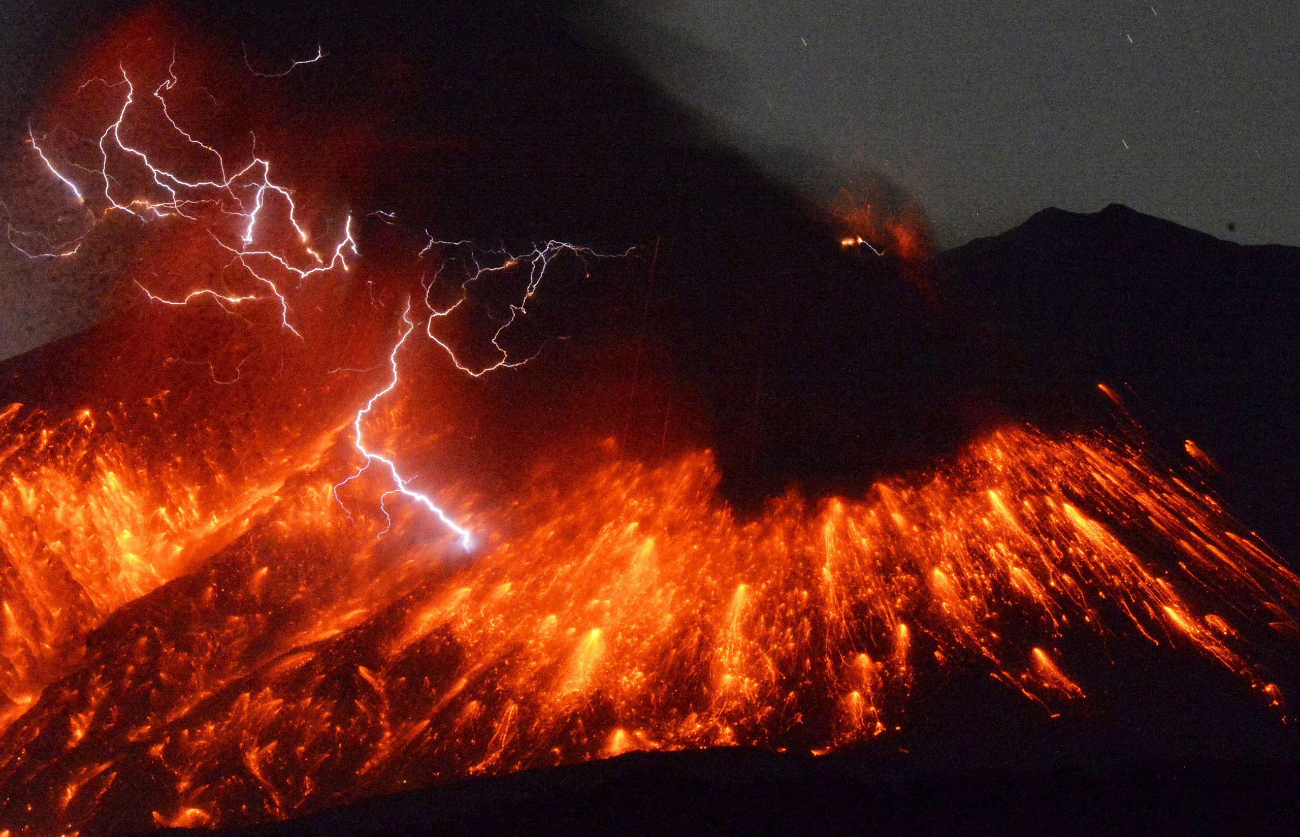 Volcanic lightning is seen at an eruption of Mount Sakurajima, in this photo taken from Tarumizu city, Kagoshima prefecture, southwestern Japan, on Feb. 5, 2016.