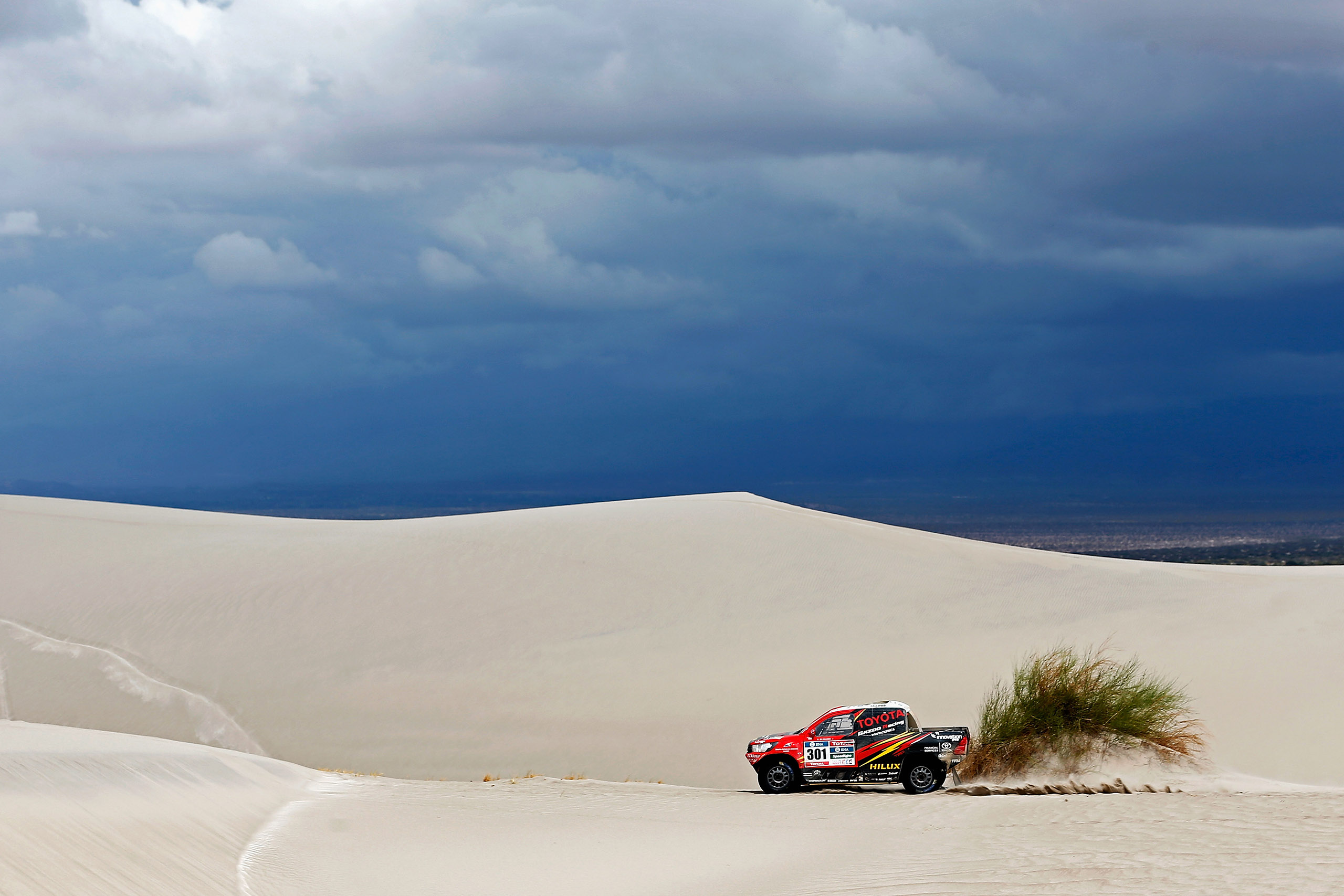 Giniel De Villiers of South Africa and Dirk Von Zitzewitz of Germany in the Toyota Hilux for Toyota Gazoo Racing compete on day 11 stage ten between Belen and La Rioja during the 2016 Dakar Rally on Jan. 13, 2016 in near Fiambala, Argentina.