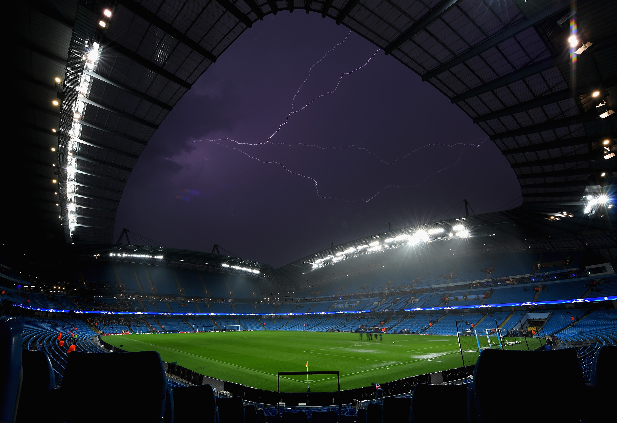 A general view inside the stadium as Lightning strikes following the postponement of the UEFA Champions League Group A match between Manchester City FC and VfL Borussia Moenchengladbach at Etihad Stadium on Sept. 13, 2016 in Manchester, England.