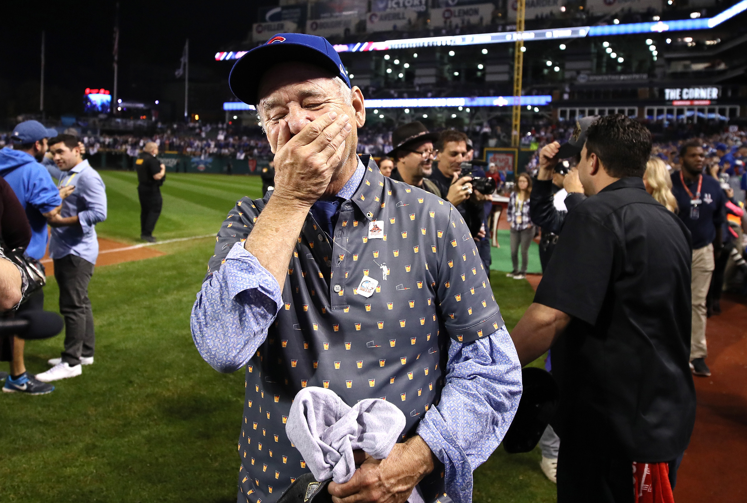 Actor Bill Murray reacts on the field after the Chicago Cubs defeated the Cleveland Indians 8-7 in Game Seven of the 2016 World Series at Progressive Field on Nov. 2, 2016 in Cleveland.