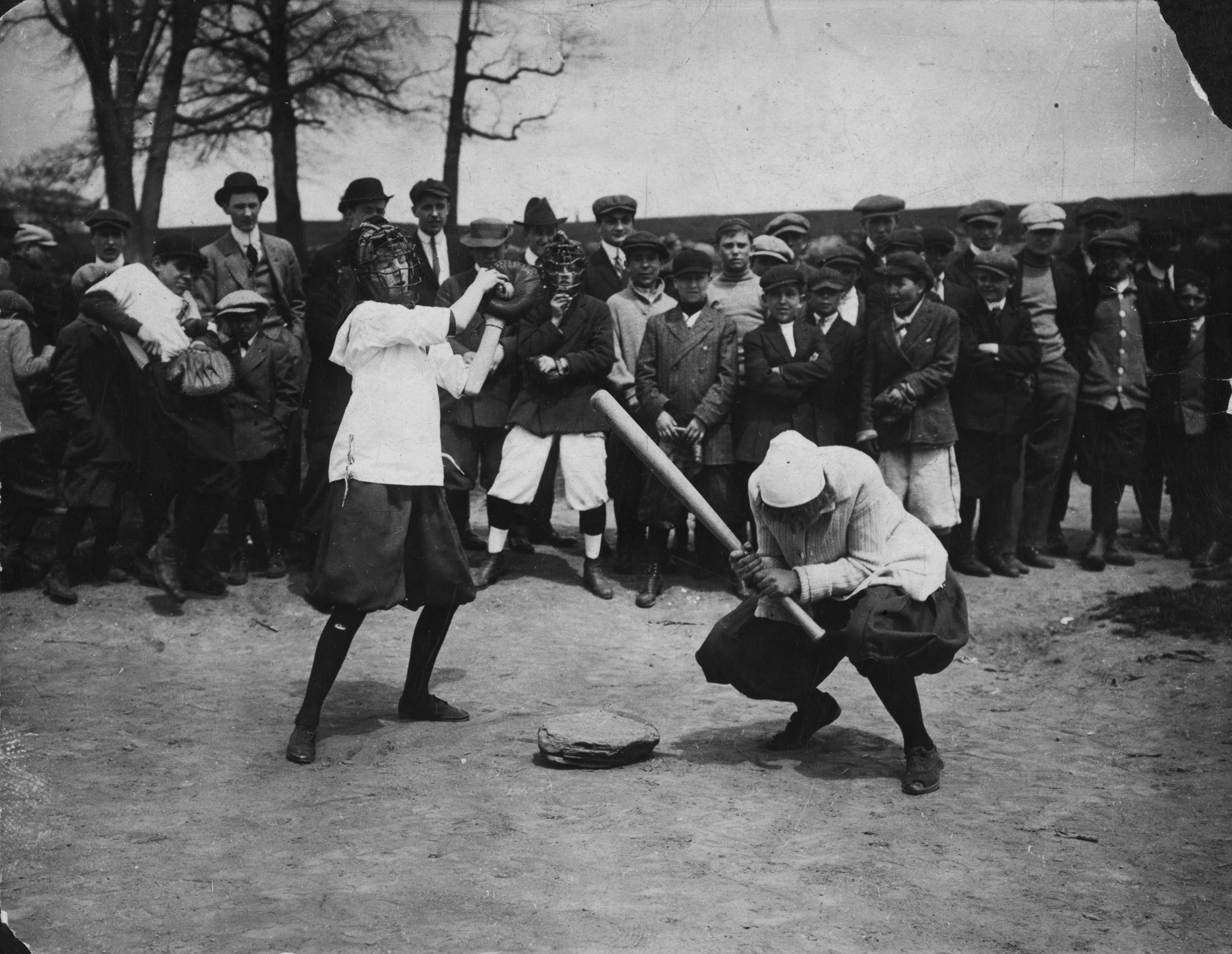 New York female  Giants  - Miss McCullum catcher and Miss Ryan at bat. Circa 1913.