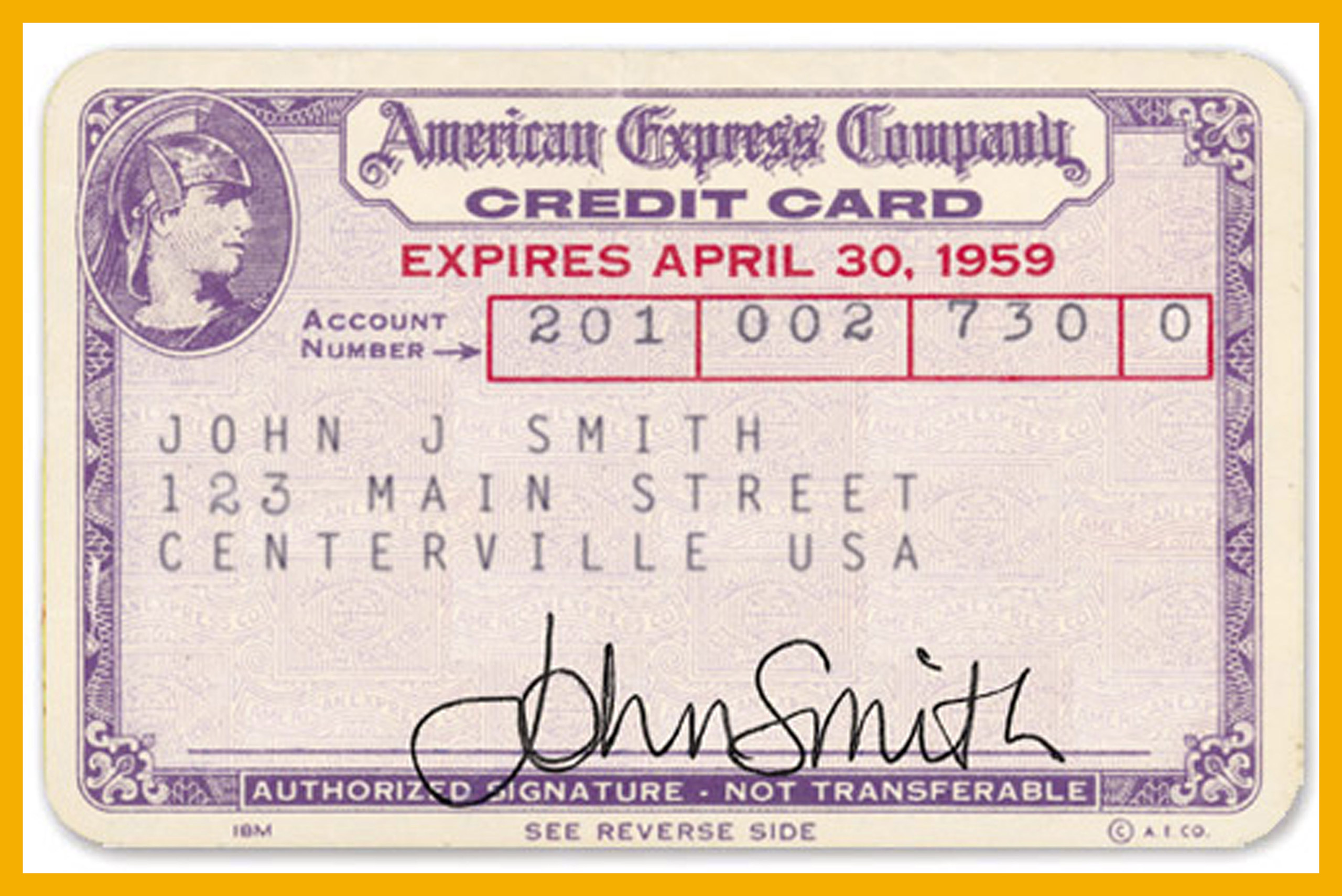 1959 American Express Credit Card.