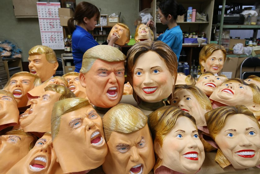 Workers of Ogawa Rubber Inc. are making rubber masks of Donald Trump and Hillary Clinton at its factory in Omiya, Saitama Prefecture on June 9, 2016.