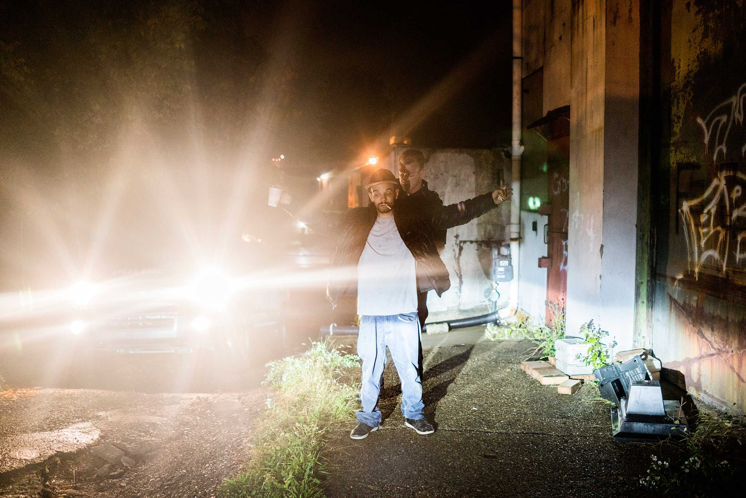 A young man, who police said was under the influence, is stopped in an alleyway by officers and searched in East Liverpool, Ohio, on Oct. 7, 2016. When nothing was found, he was eventually released.