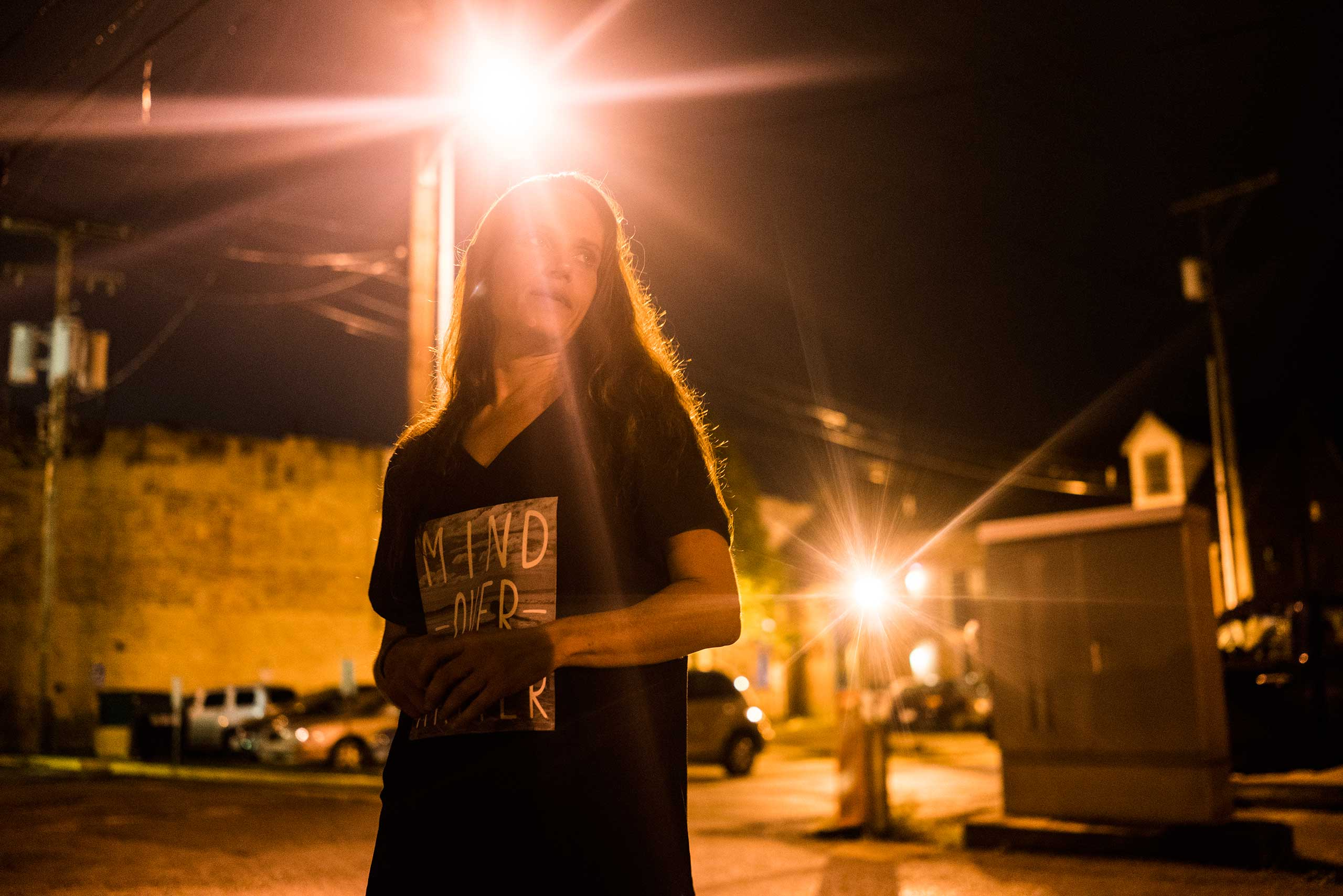 """An addict living on the streets complained about the lack of rehab centers in the town and little opportunity for East Liverpool youth on Oct. 7, 2016. """"I don't even know my son anymore,"""" she said. """"He's an addict [too]."""""""