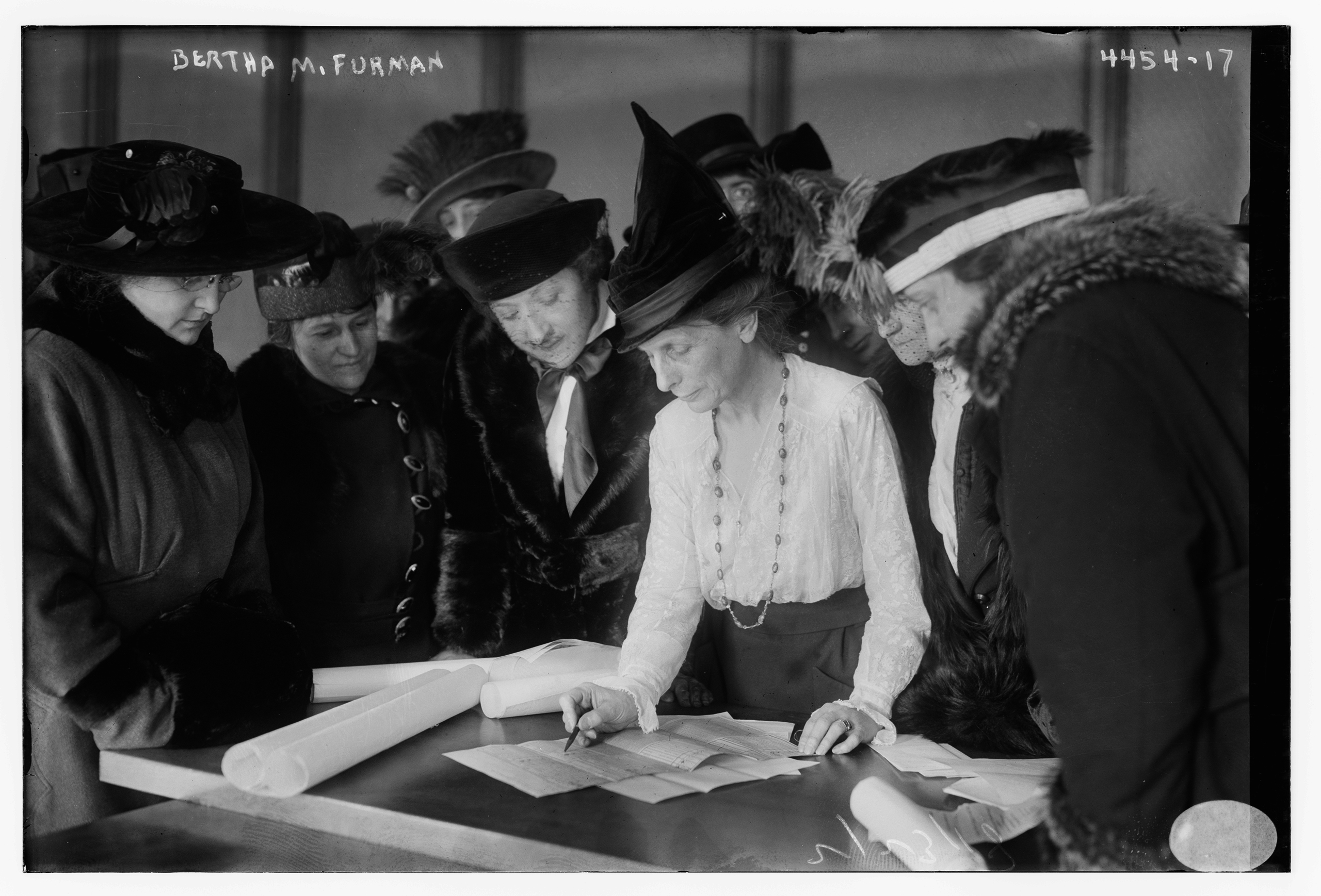 Suffragist Bertha M. Furman, who worked for the League of Women Voters, teaching women how to vote, circa 1930.