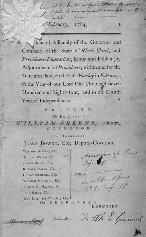 Act for the gradual Abolition of Slavery from the General Assembly of the Governor and Company of the state of Rhode Island, 1784. From the New York Public Library.