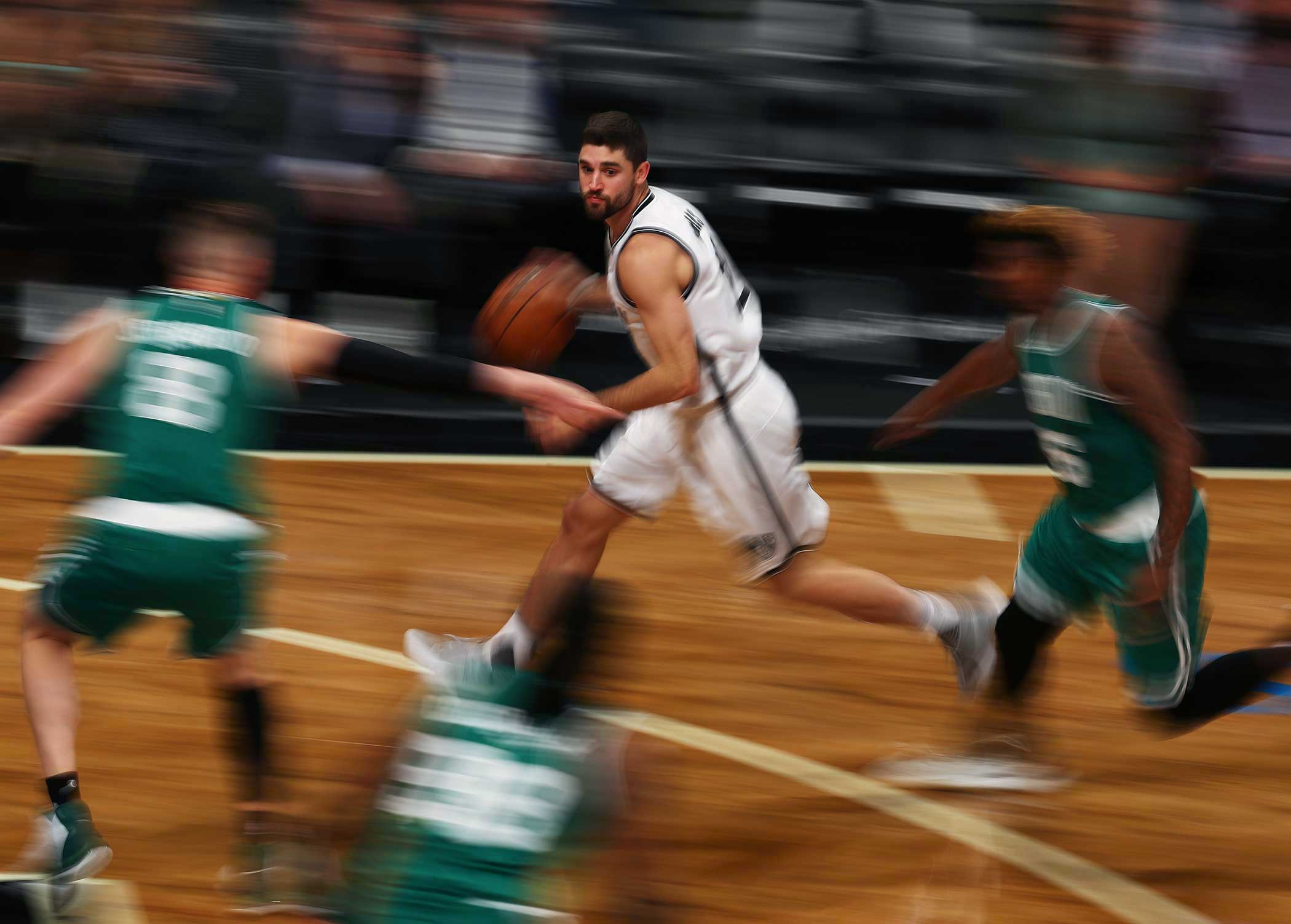 Greivis Vasquez of the Brooklyn Nets dribbles the ball against the Boston Celtics during their Pre Season game at the Barclays Center on Oct. 13.