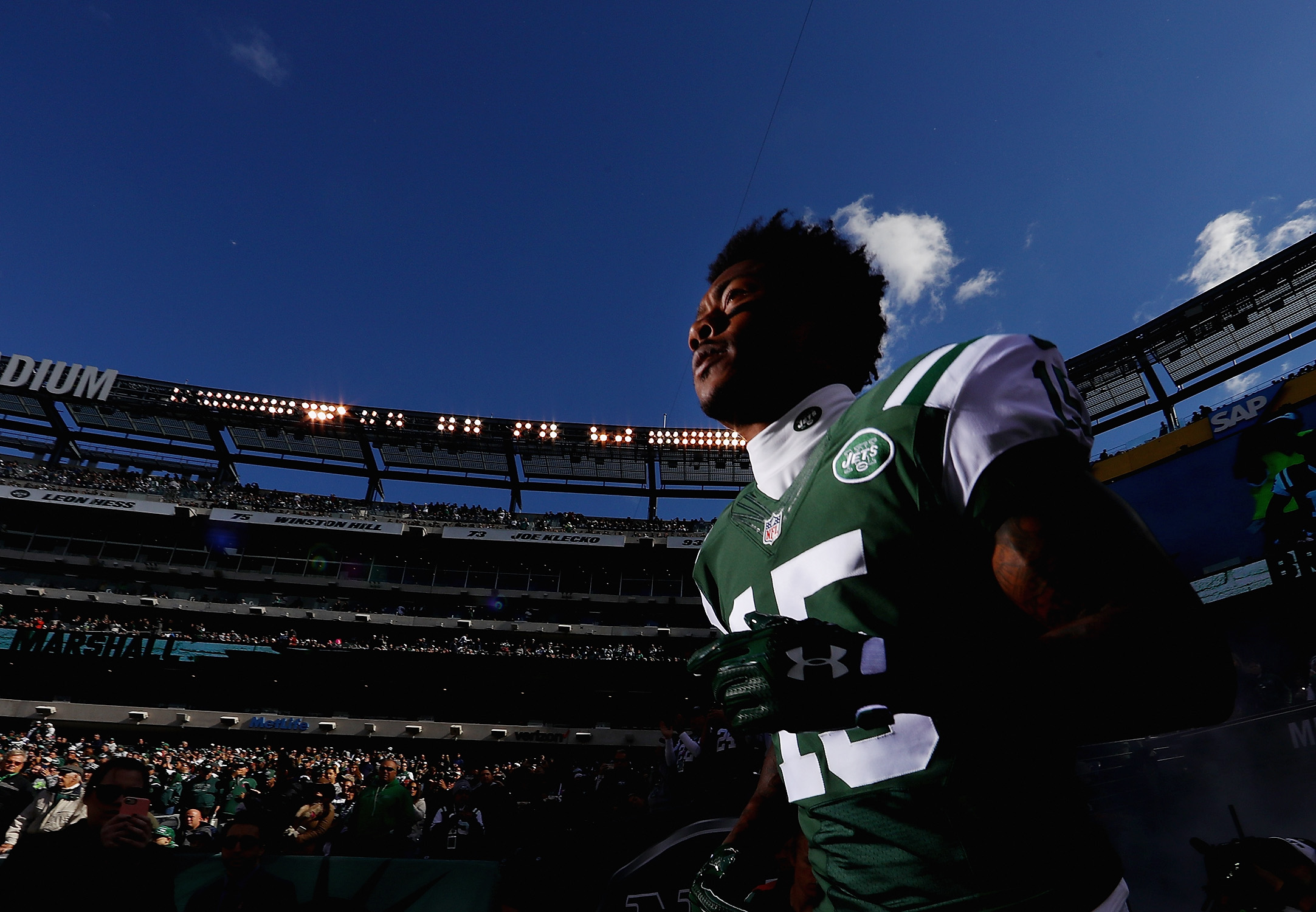 Brandon Marshall of the New York Jets runs onto the field before playing against the Baltimore Ravens at MetLife Stadium on Oct. 23, 2016 in East Rutherford, New Jersey.
