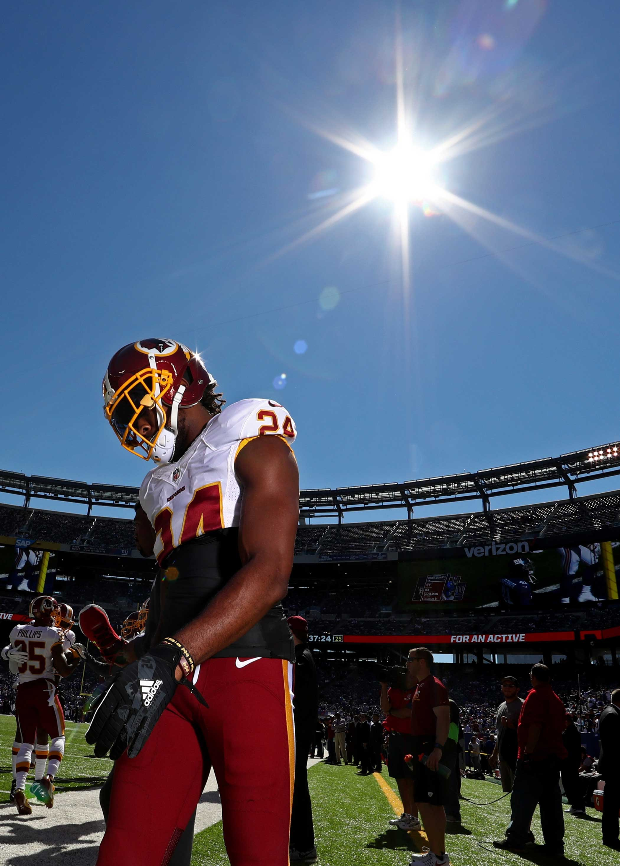 Josh Norman of the Washington Redskins looks on before the game against the New York Giants at MetLife Stadium on Sept. 25, 2016 in East Rutherford, New Jersey.