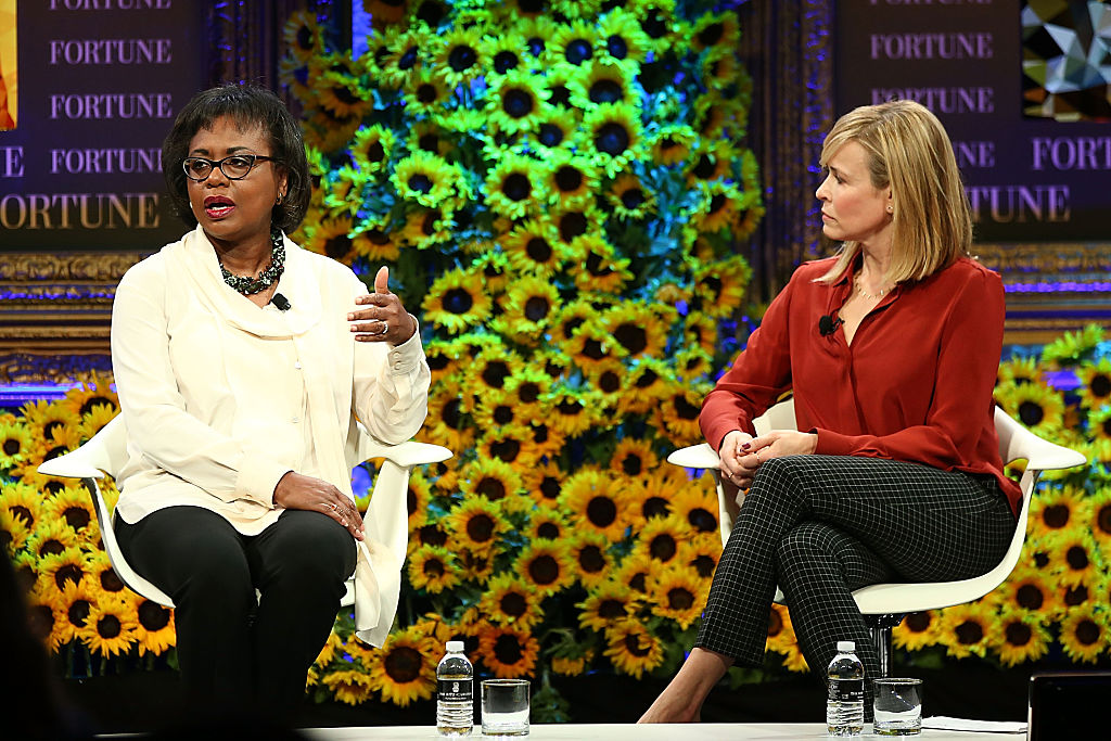 DANA POINT, CA - OCTOBER 19:  Anita Hill and Chelsea Handler speak onstage at the Fortune Most Powerful Women Summit 2016 at Ritz-Carlton Laguna Niguel on October 19, 2016 in Dana Point, California.  (Photo by Joe Scarnici/Getty Images for Fortune)