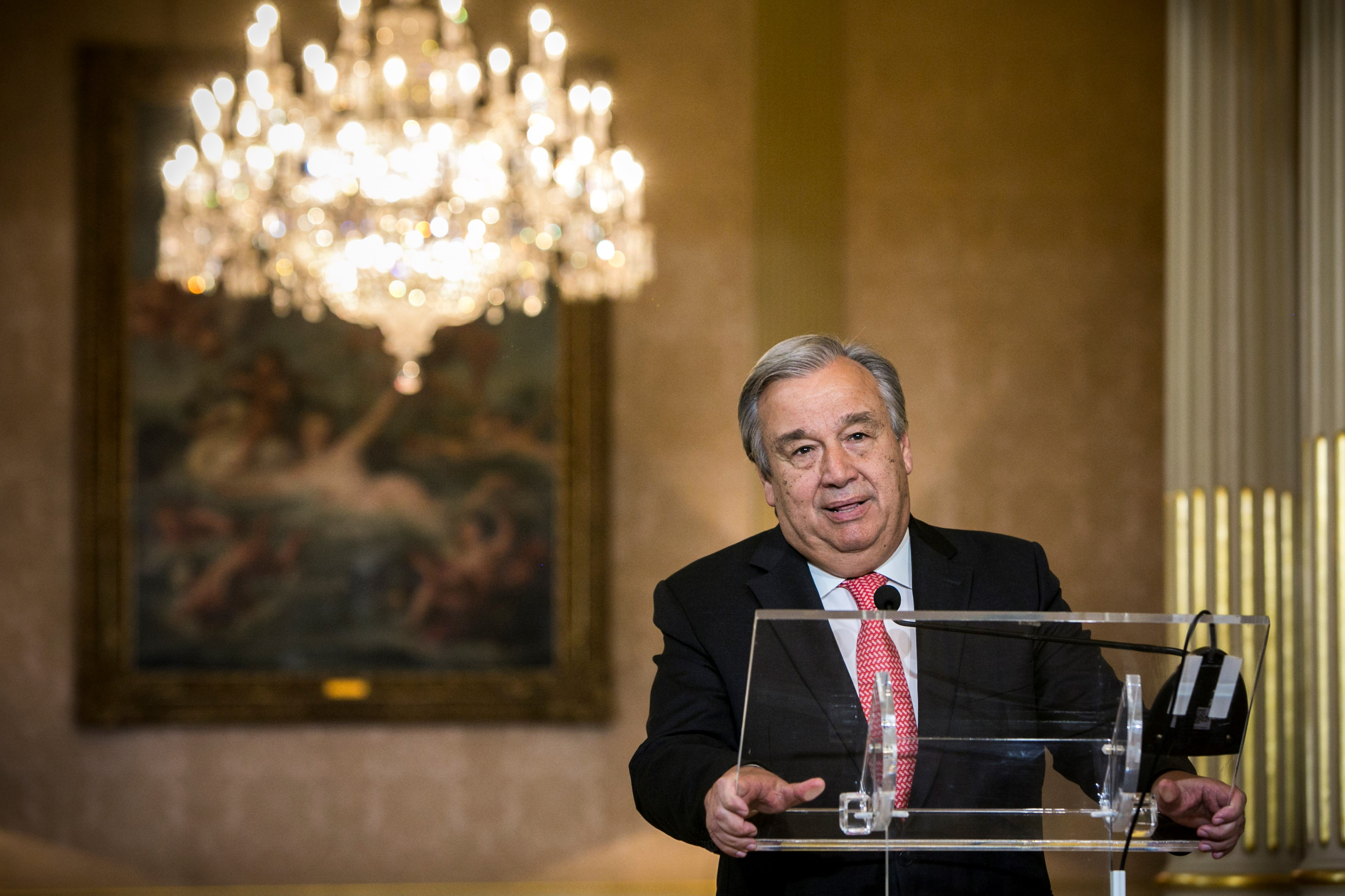 New appointed United Nations general secretary Antonio Guterres delivers a speech during a press conference in Lisbon, Portugal on October 6, 2016.