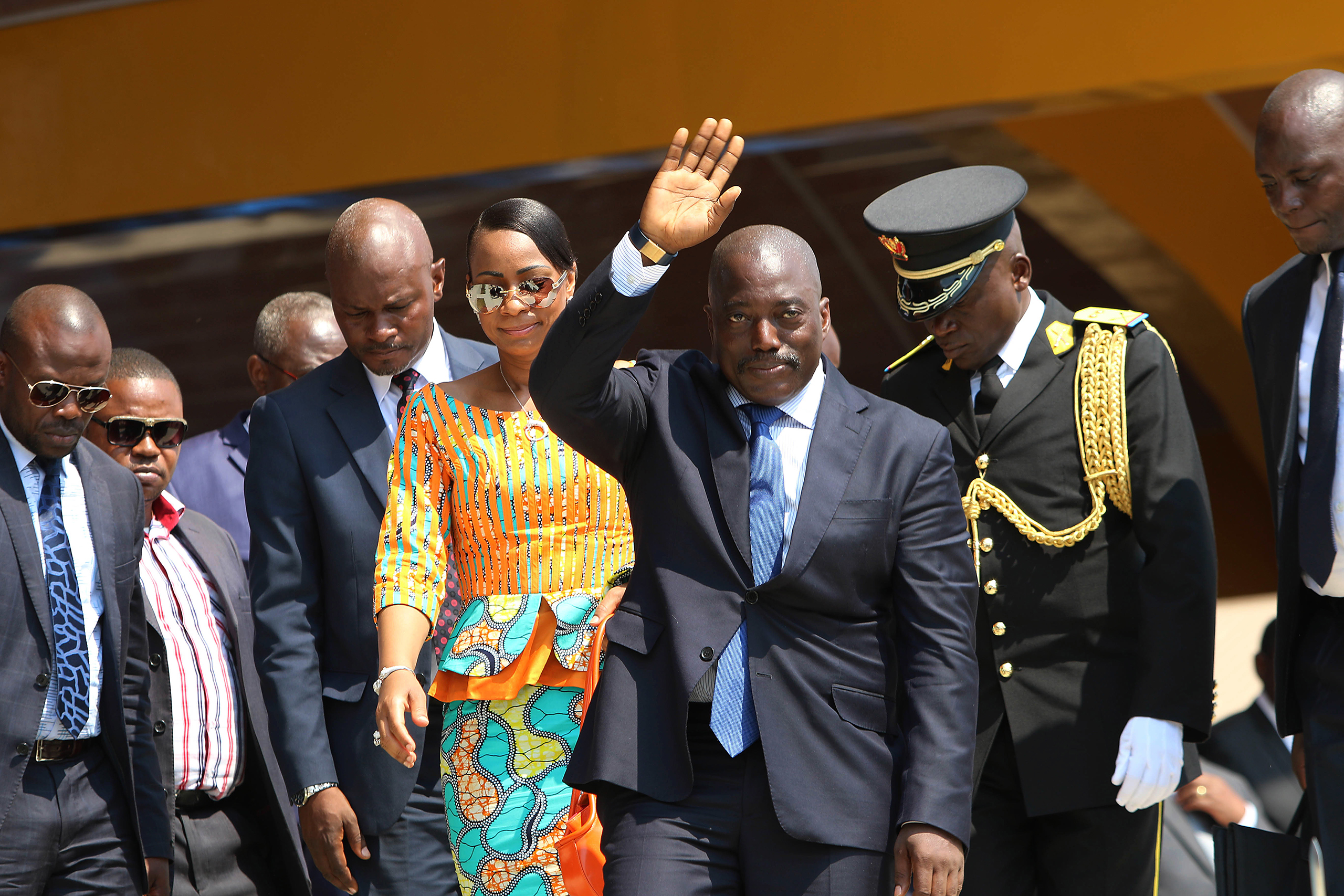 Congolese President Joseph Kabila waves as he and others celebrate the Democratic Republic of Congo, DRC, independence in Kindu, Congo on June 30, 2016.