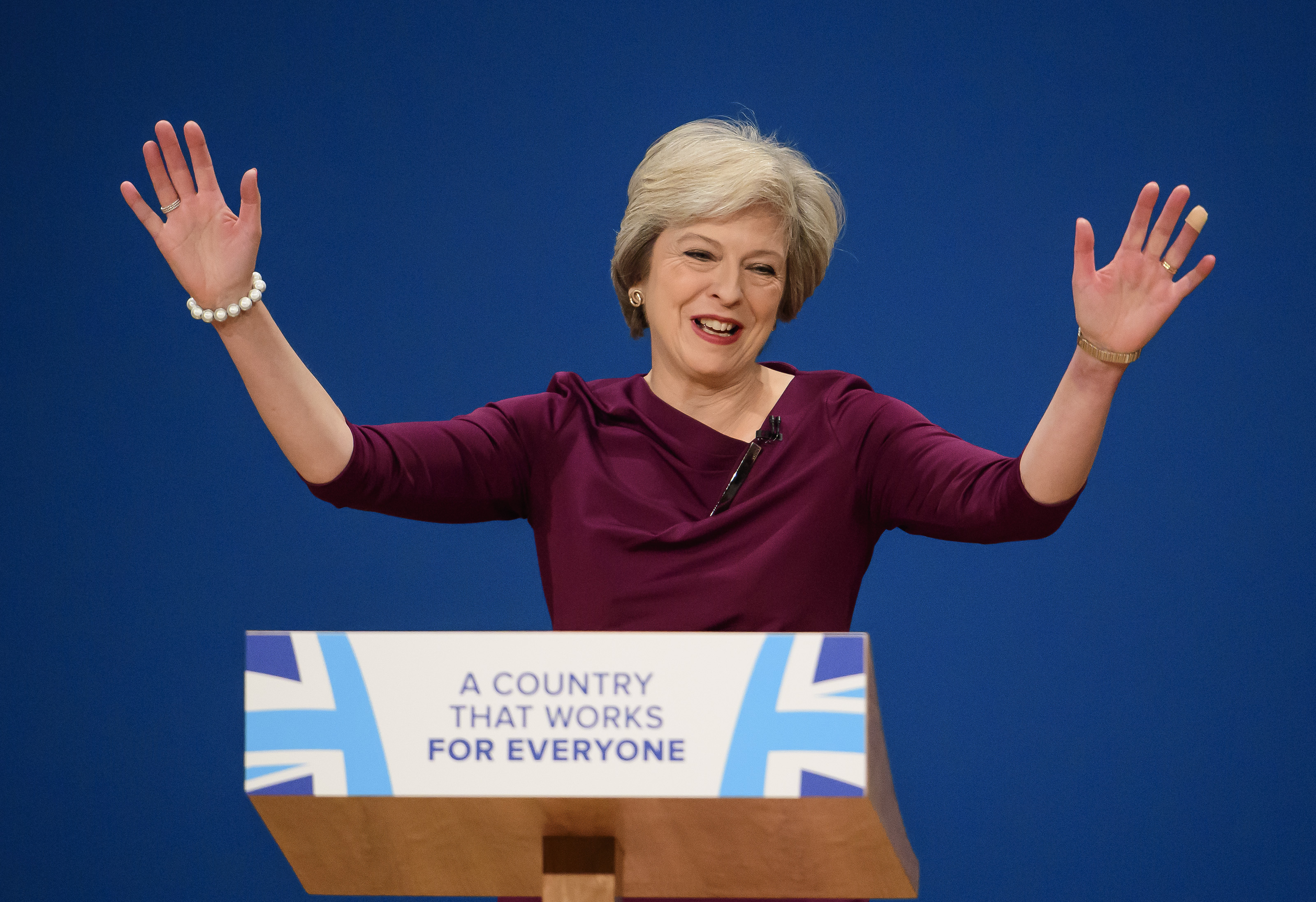 British prime minister Theresa May delivering her leader's speech on the last day of the Conservative Party Conference
