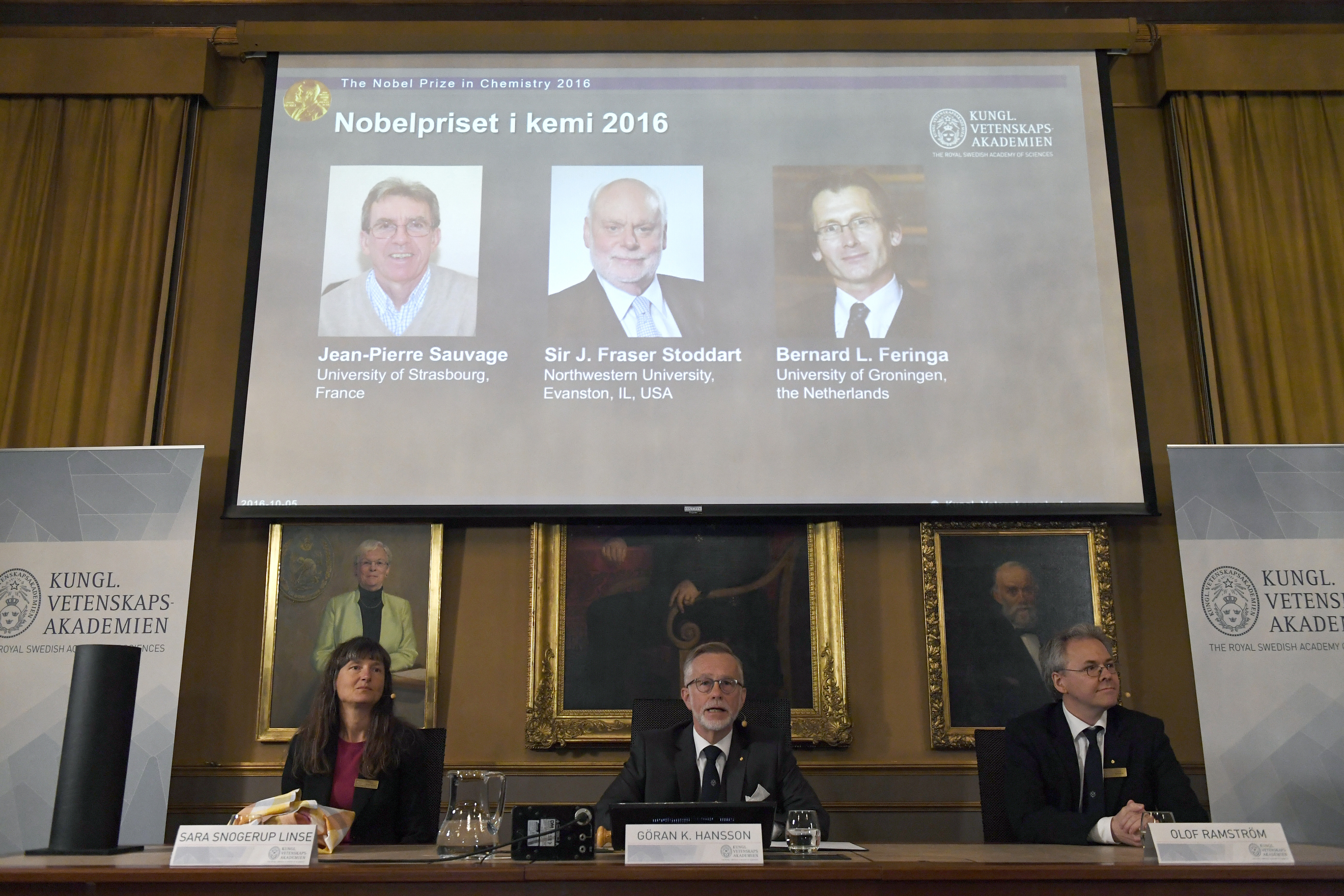 Three scientists, Frenchman Jean-Pierre Sauvage, British-born J. Fraser Stoddart and Dutch scientist Bernard Feringa, were today awarded the Nobel Prize in chemistry