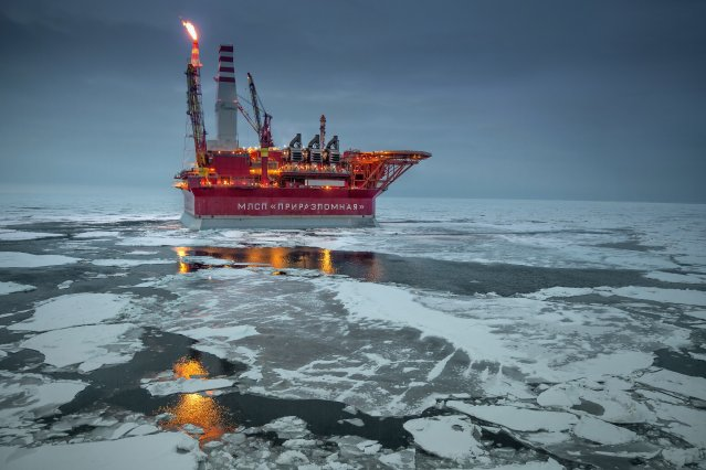 The Prirazlomnaya offshore ice-resistant oil-producing platform is seen in the Pechora Sea, Russia, on May 8, 2016. It is the world's first operational Arctic rig that processes oil drilling, production, storage, end product processing and loading.