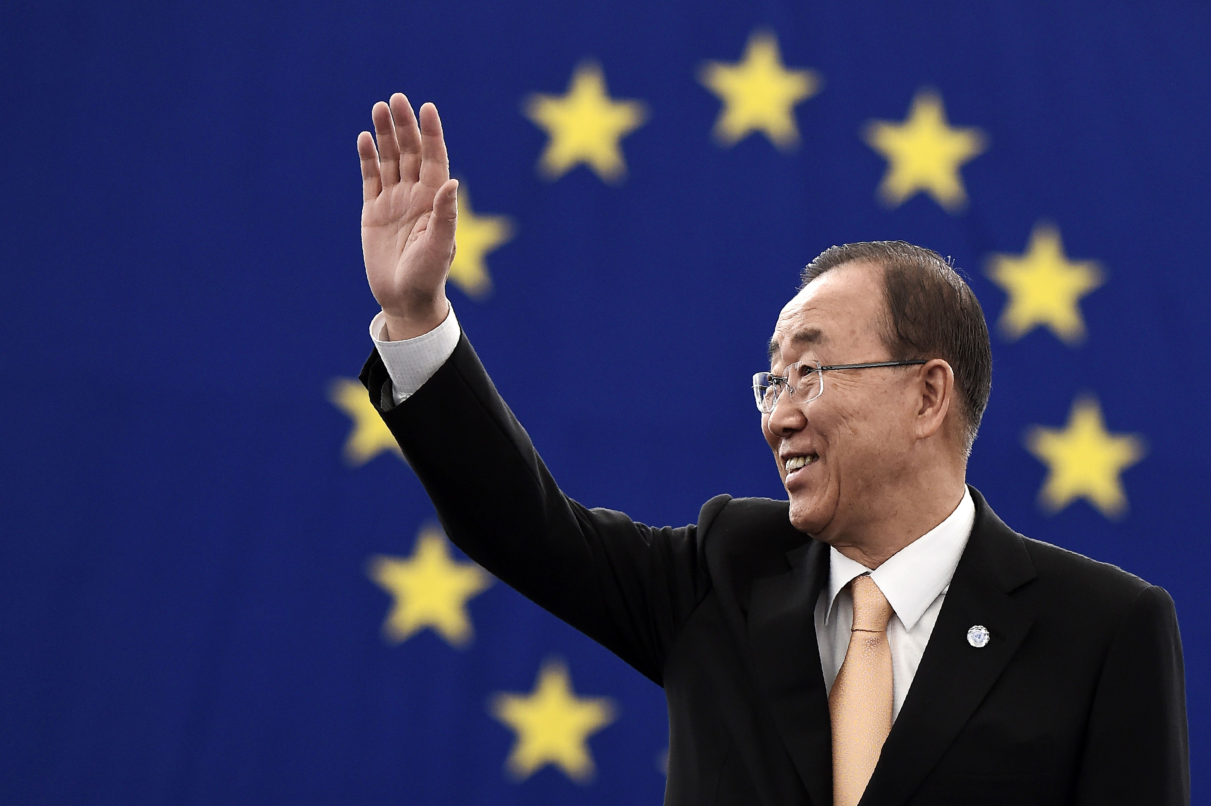 UN Secretary-General Ban Ki-moon gestures as he arrives to take part in a voting session on the UN Climate Change agreement struck in Paris last year at the European Parliament in Strasbourg, eastern France, on Oct. 4, 2016.