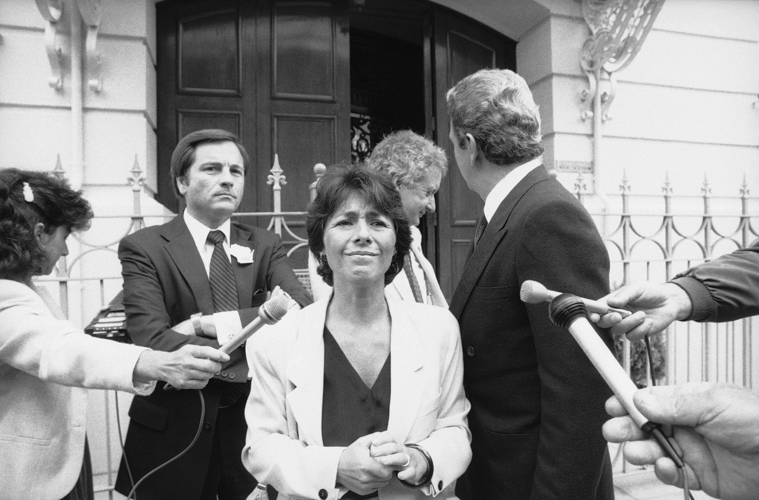 Rep. Barbara Boxer of Calif., addresses a news conference outside the office of the Soviet Union's Deputy Consul in San Francisco Tuesday, July 17, 1984.