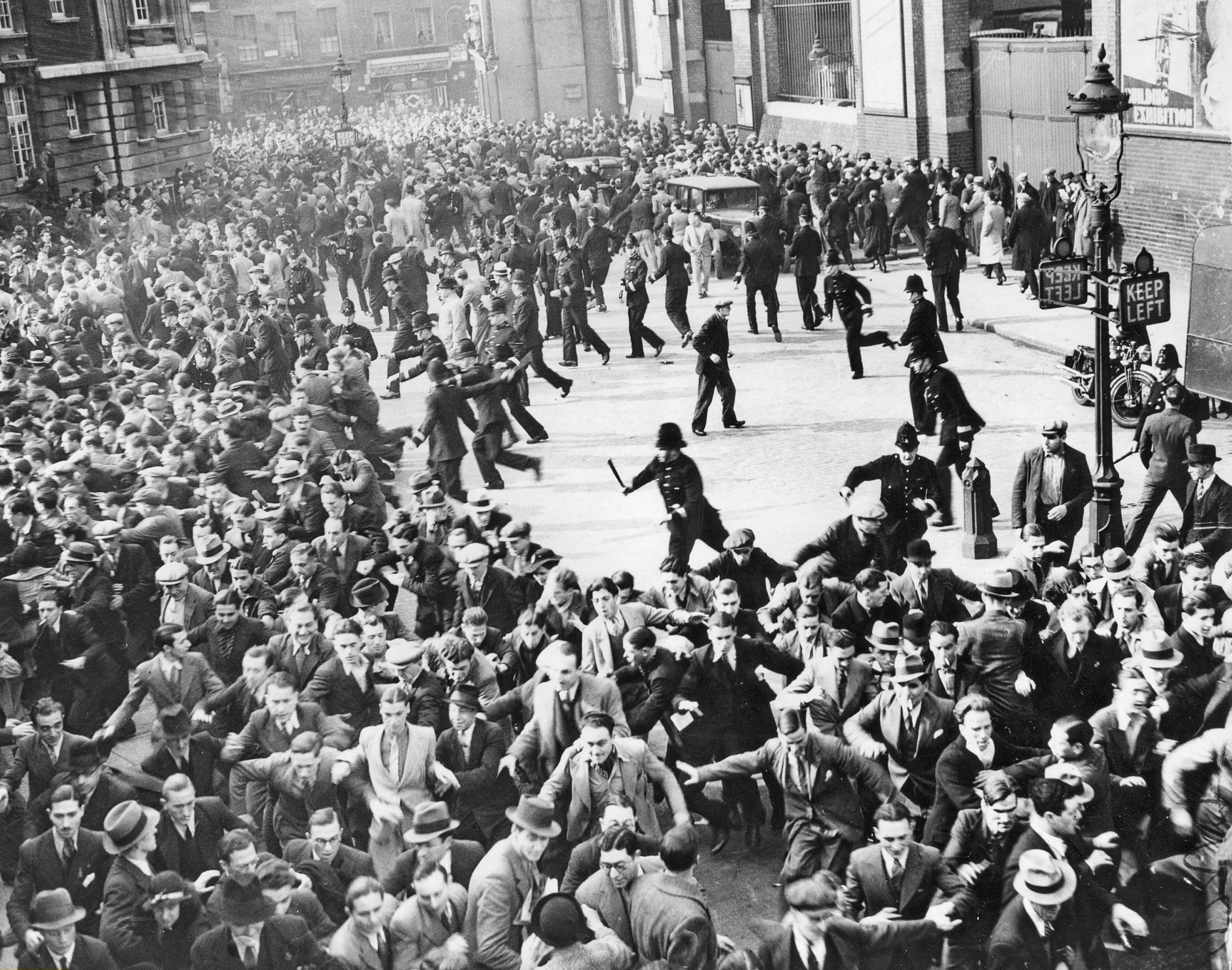 Riots erupted between anti-Fascists and Blackshirts (British Fascists) when Mosley's supporters were gathering in Great Mint Street for a march through the East End of London in what is now called the Battle of Cable Street on Oct. 4, 1936.