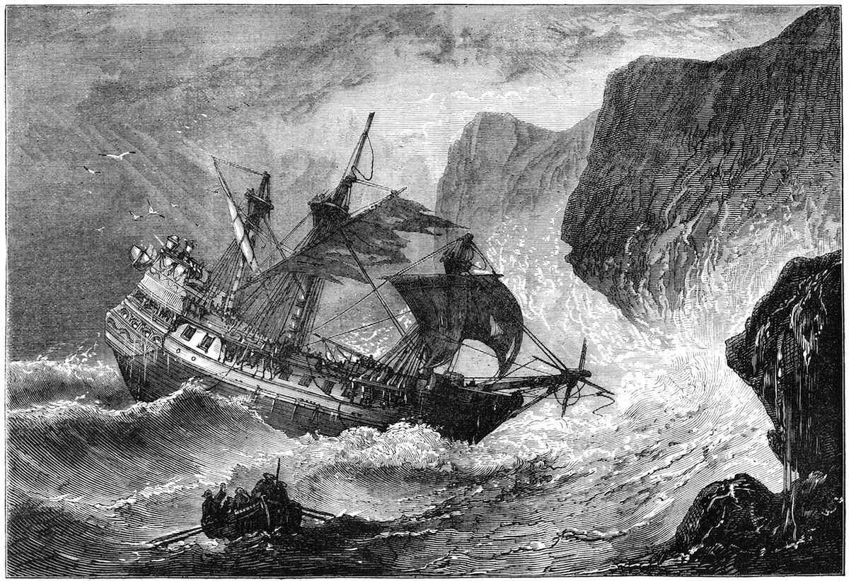 A 19th-century print of Admiral Somers running his ship ashore on Bermuda, 1609.