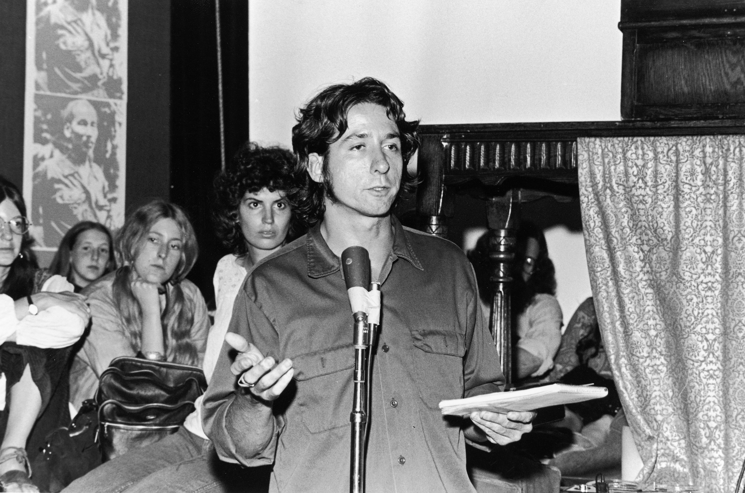 Peace activist Tom Hayden speaks in New York in September 1972