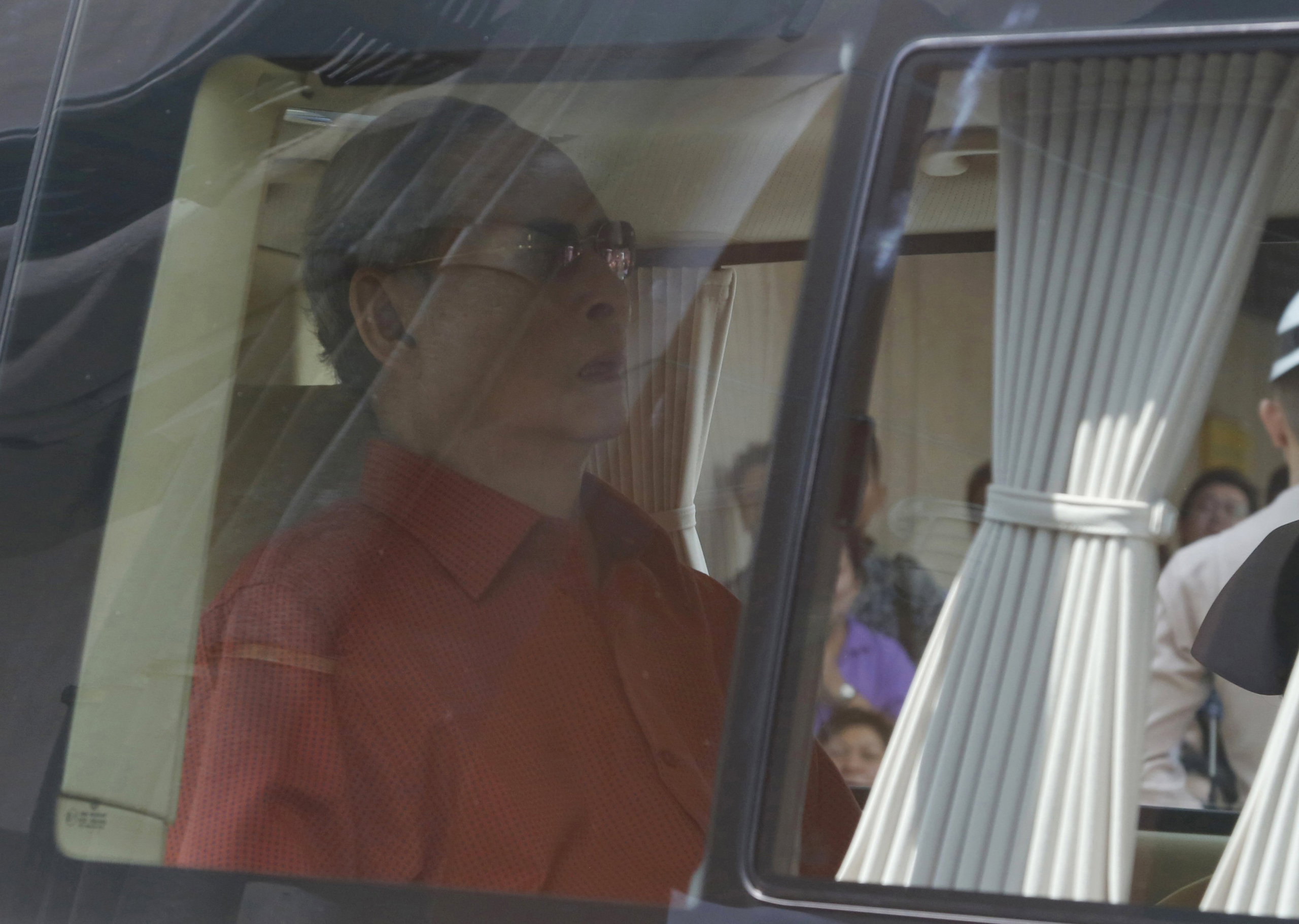 Thai King Bhumibol Adulyadej leaves Siriraj Hospital in Bangkok, on May 10, 2015 to return to his seaside palace after being hospitalized since Oct. 2014 when he had his gallbladder removed.