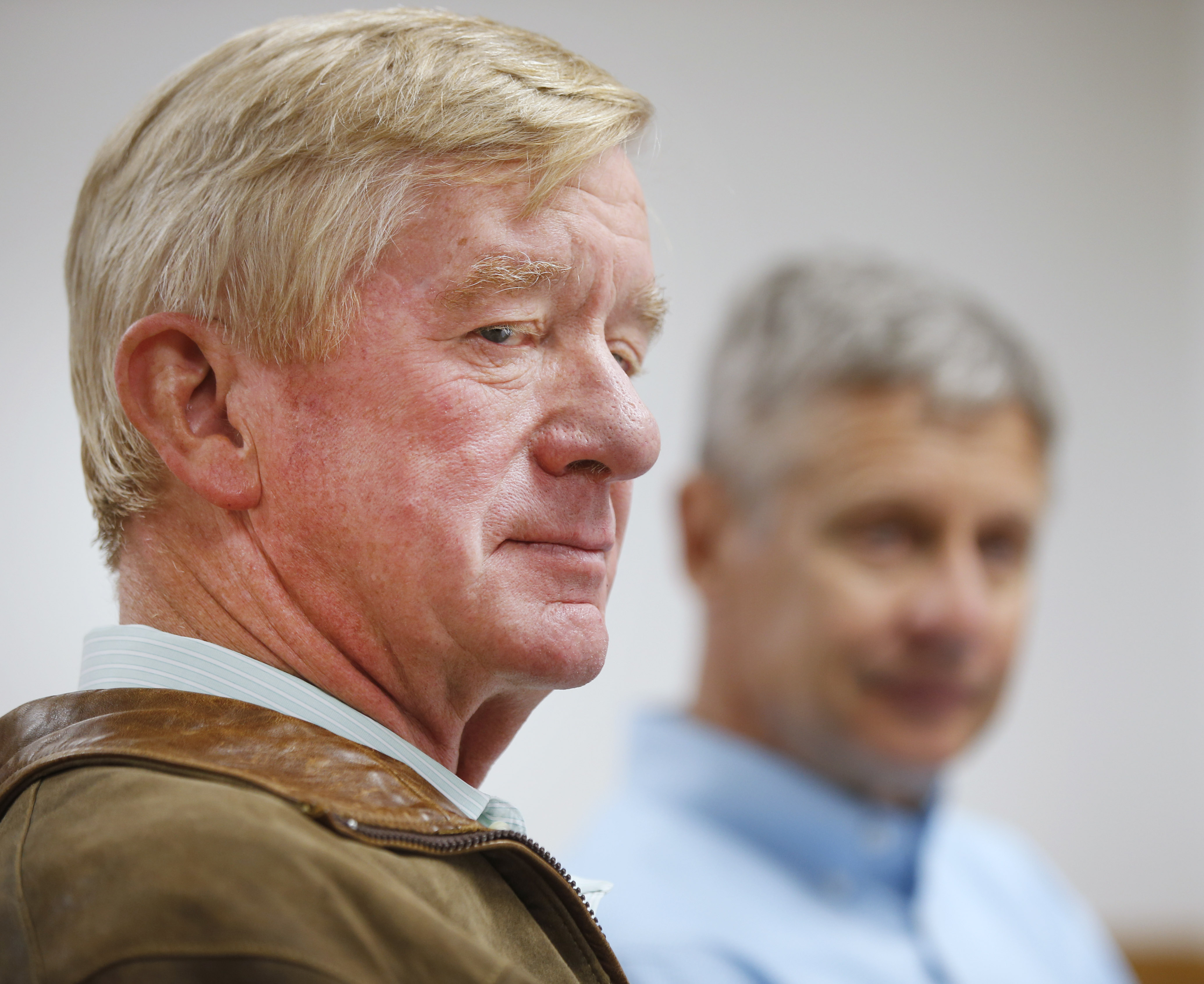 Libertarian presidential candidate Gary Johnson (R), and his running mate Bill Weld (L), talk to the press before a rally on August 6, 2016 in Salt Lake City, Utah.