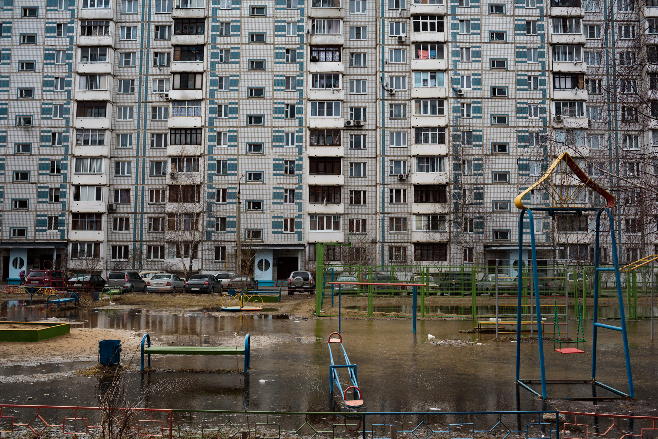 An apartment building in Dmitrov, Russia near School #7.