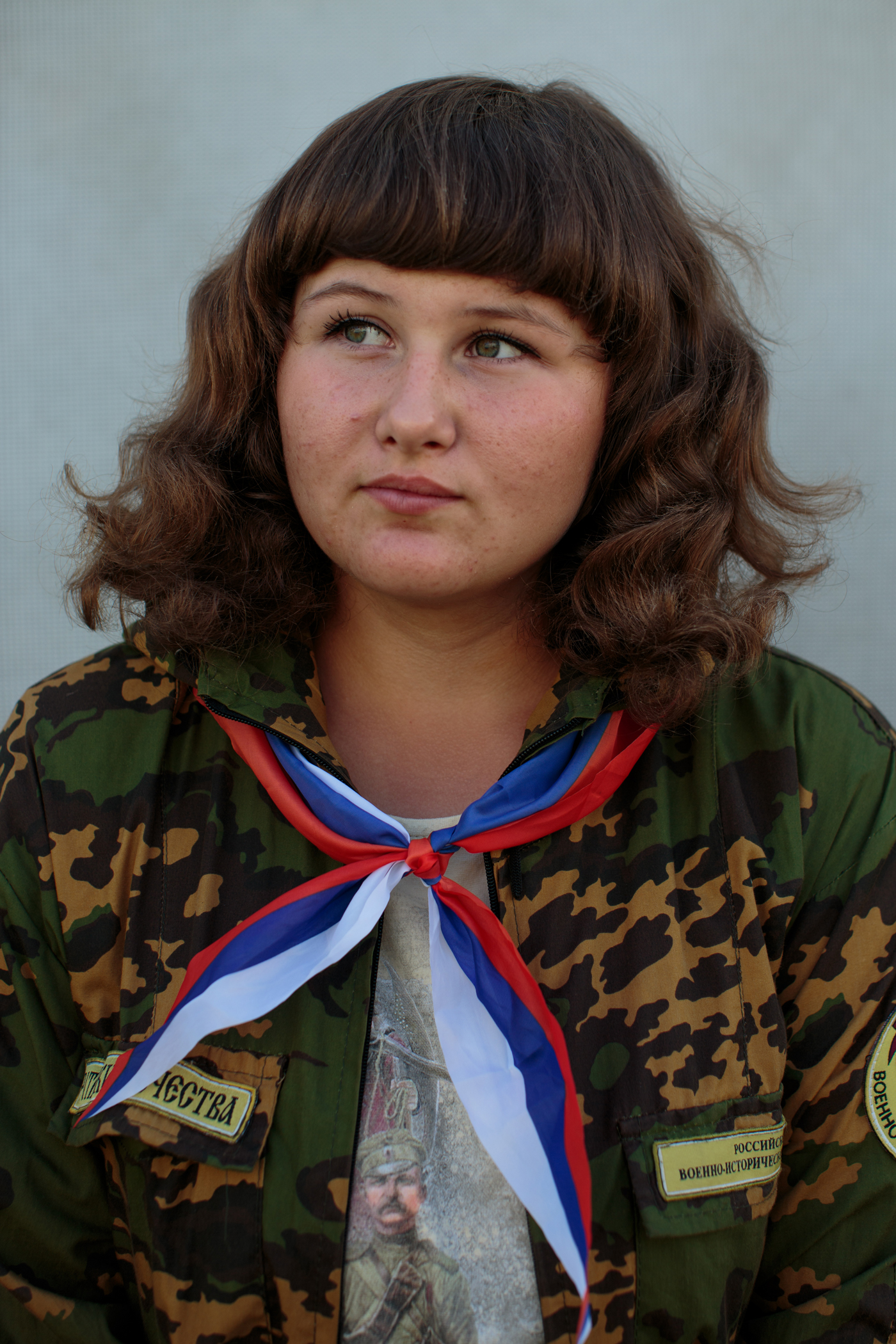 Vika Meshkova, 14, from Radyukino. Russia, poses for a portrait. The camp is free for all kids to attend.