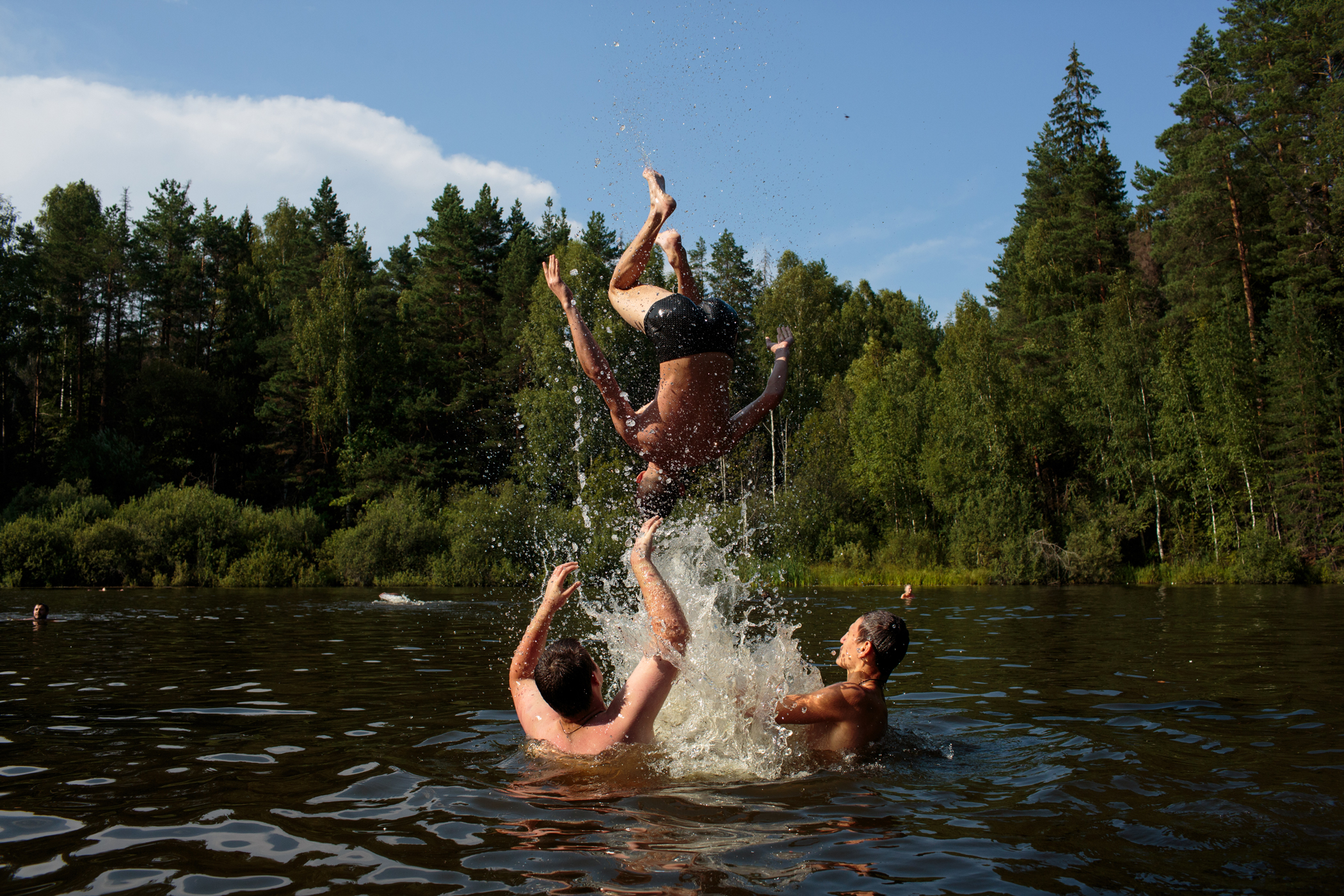 A camp group from Stavropol plays in the lake during a field trip from  Orthodox Warrior  camp, in Diveevo, Russia, the center of pilgrimage for Orthodox Christians.