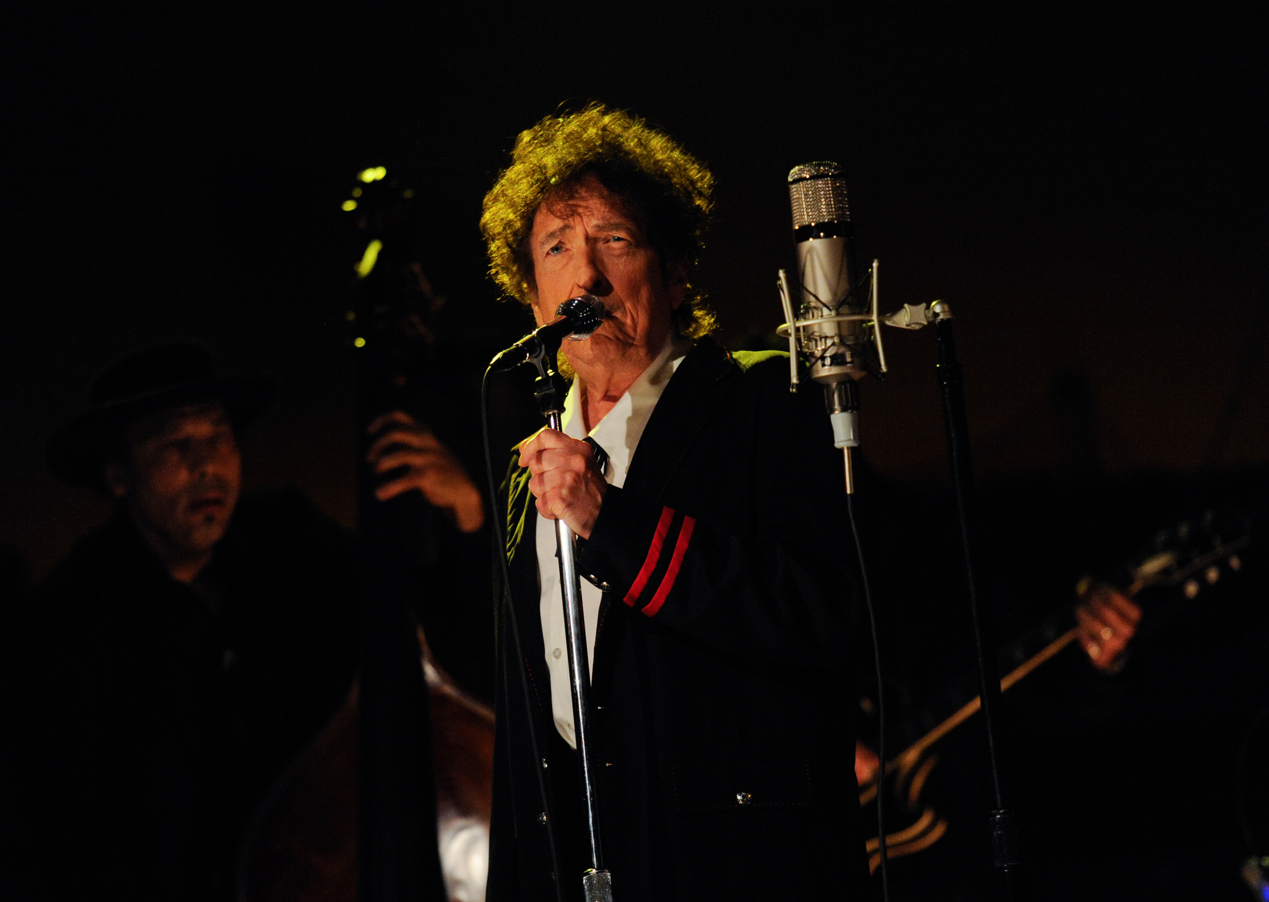 Bob Dylan performs on the Late Show with David Letterman in New York on May 19, 2015.