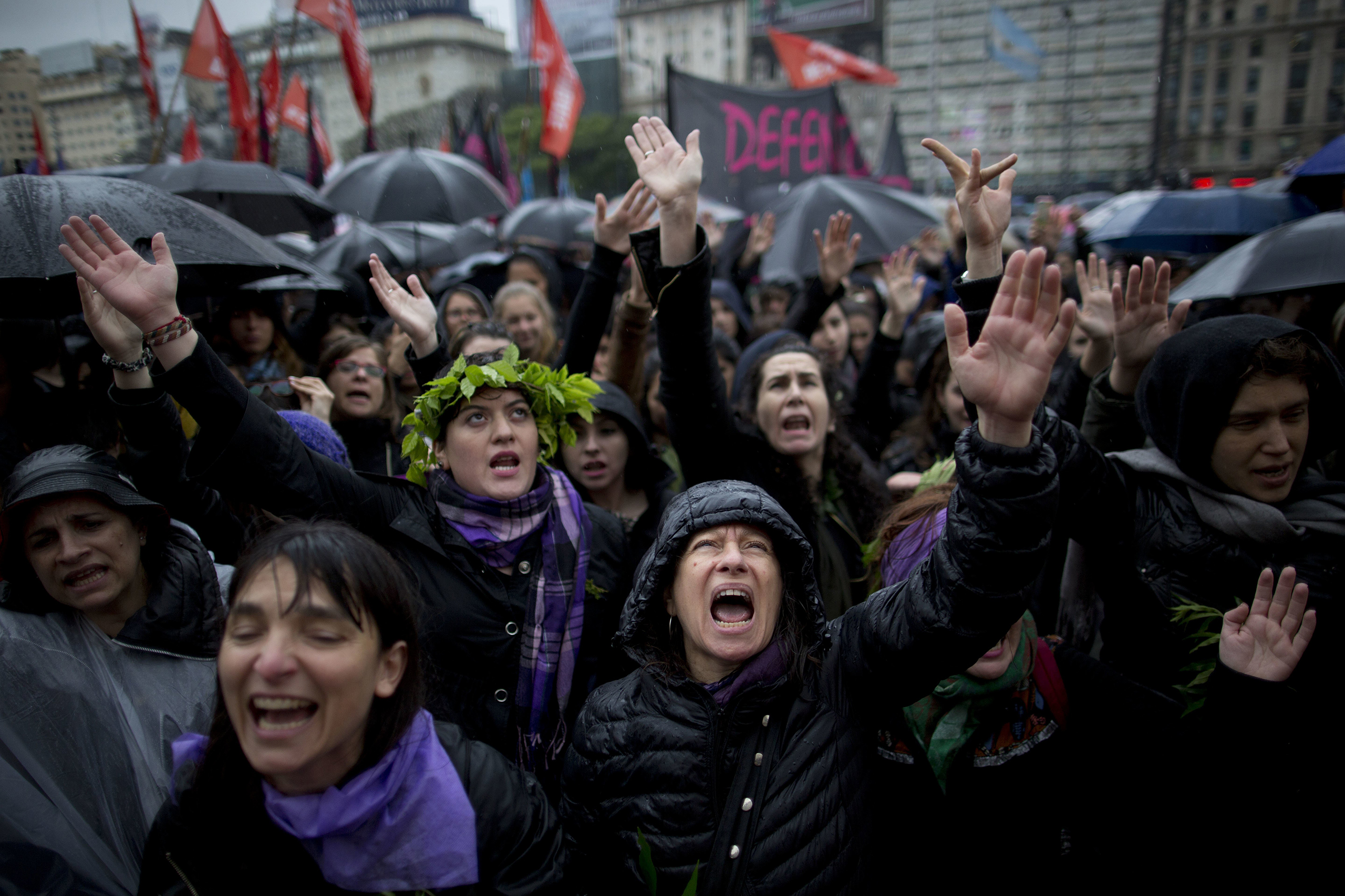 Women shout during a demonstrating against gender violence in Buenos Aires, Argentina, on Oct. 19, 2016.