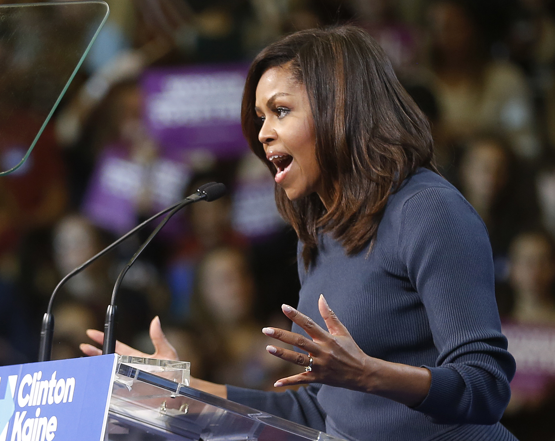 First Lady Michelle Obama speaks during a campaign rally for Democratic presidential candidate Hillary Clinton on Oct. 13, 2016, in Manchester, N.H.