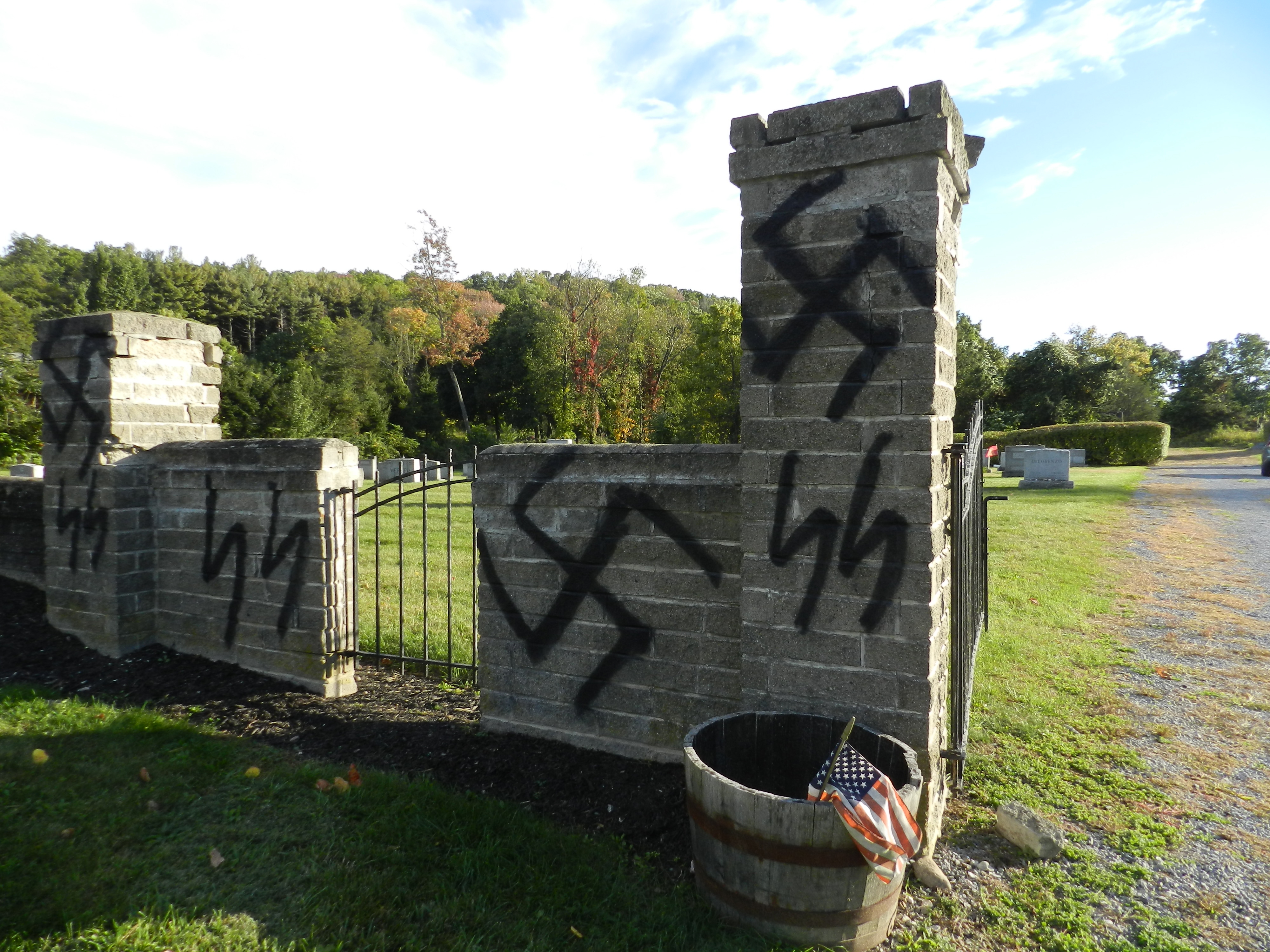 Temple Beth Shalom's cemetery in the Town of Warwick was found desecrated with anti-Semitic graffiti on Oct. 9, 2016.