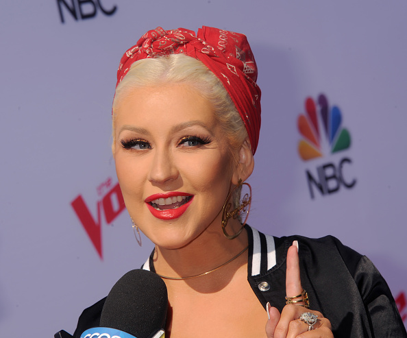 Singer Christina Aguilera arrives at 'The Voice' Karaoke for Charity at HYDE Sunset: Kitchen + Cocktails on April 21, 2016 in West Hollywood, California.