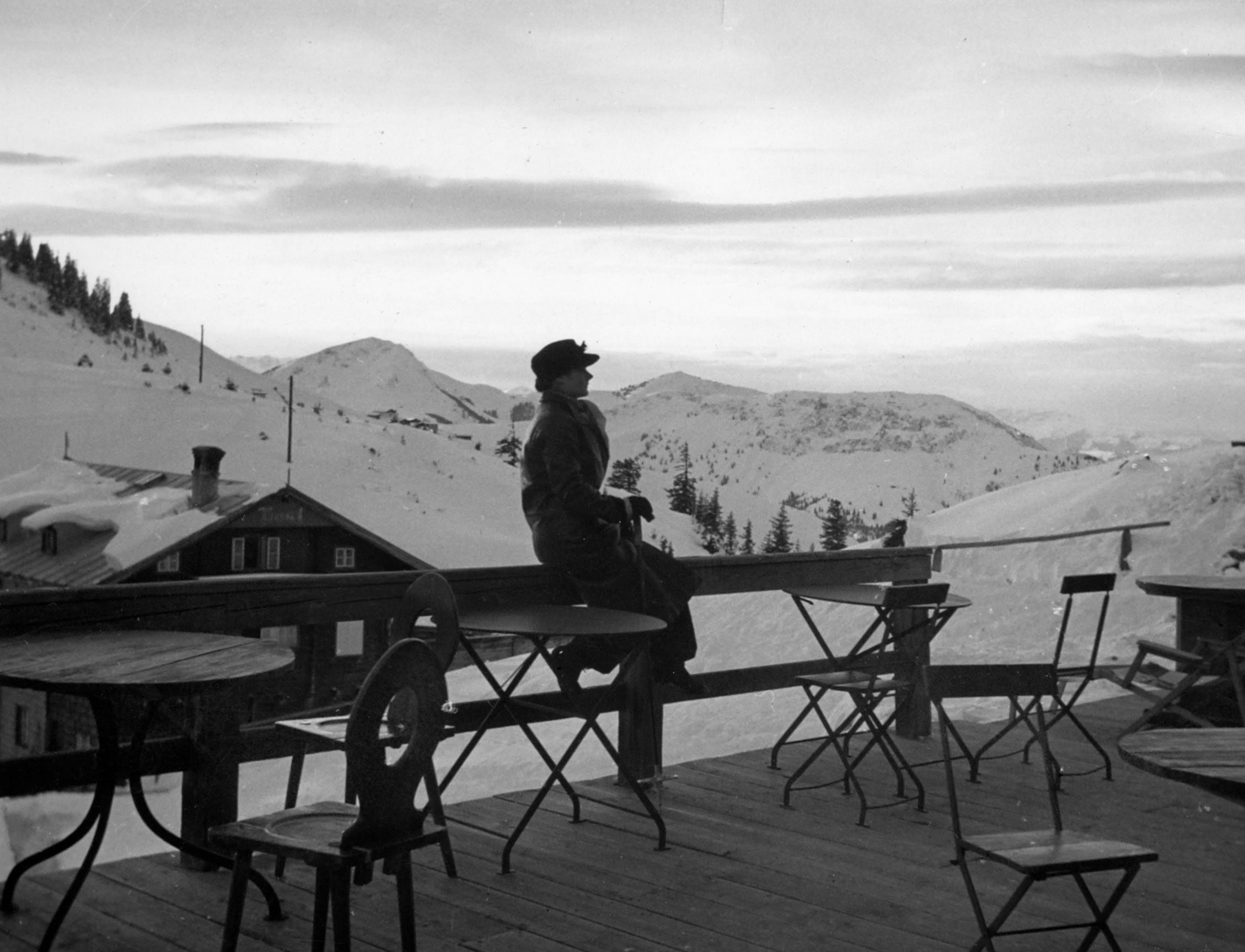 Clare gazes into the distance in Kitzbuehel, Austria, on New Year's Jan. 1939