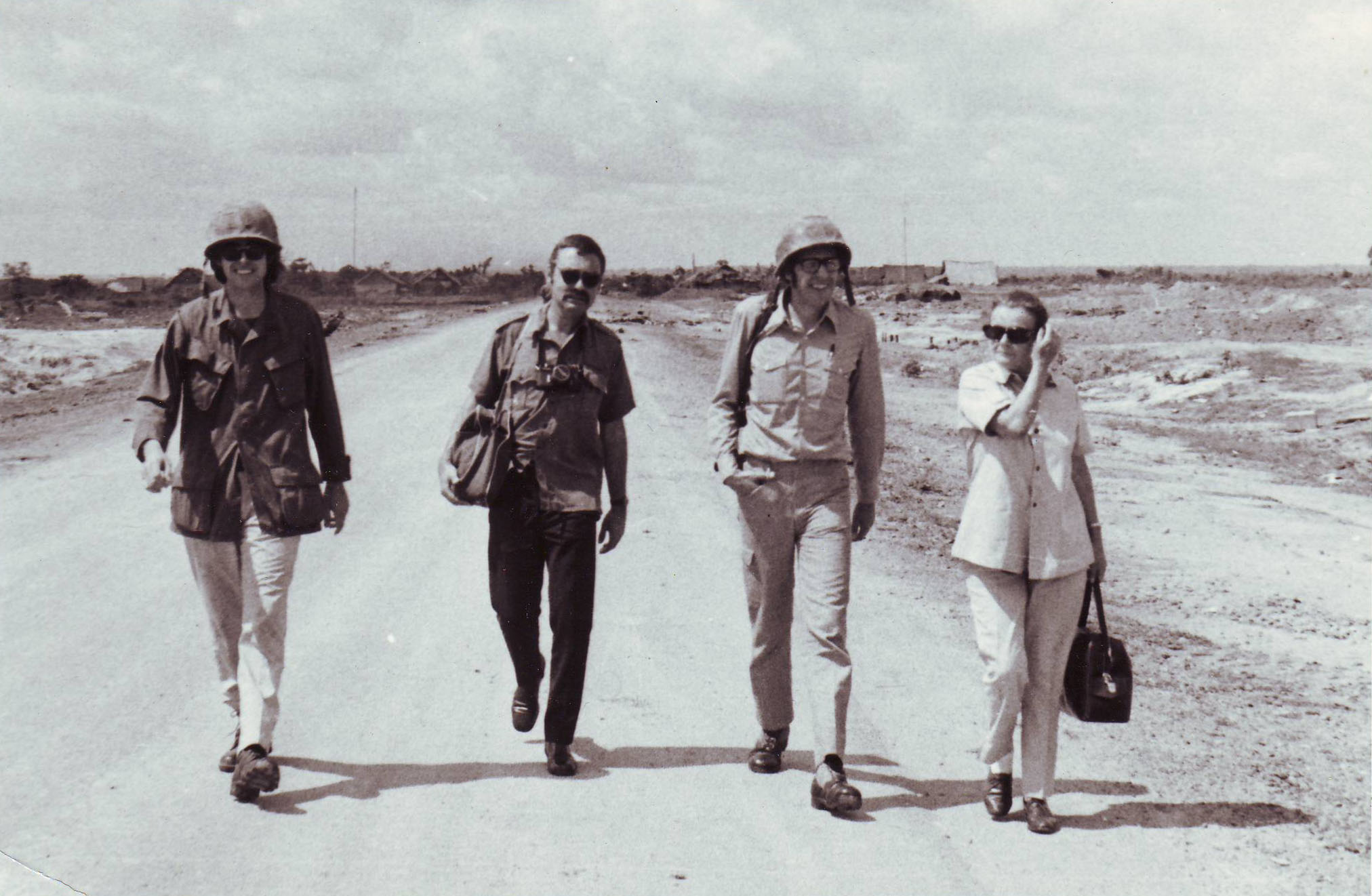 Clare Hollingworth with colleagues in Vietnam during the 1970s