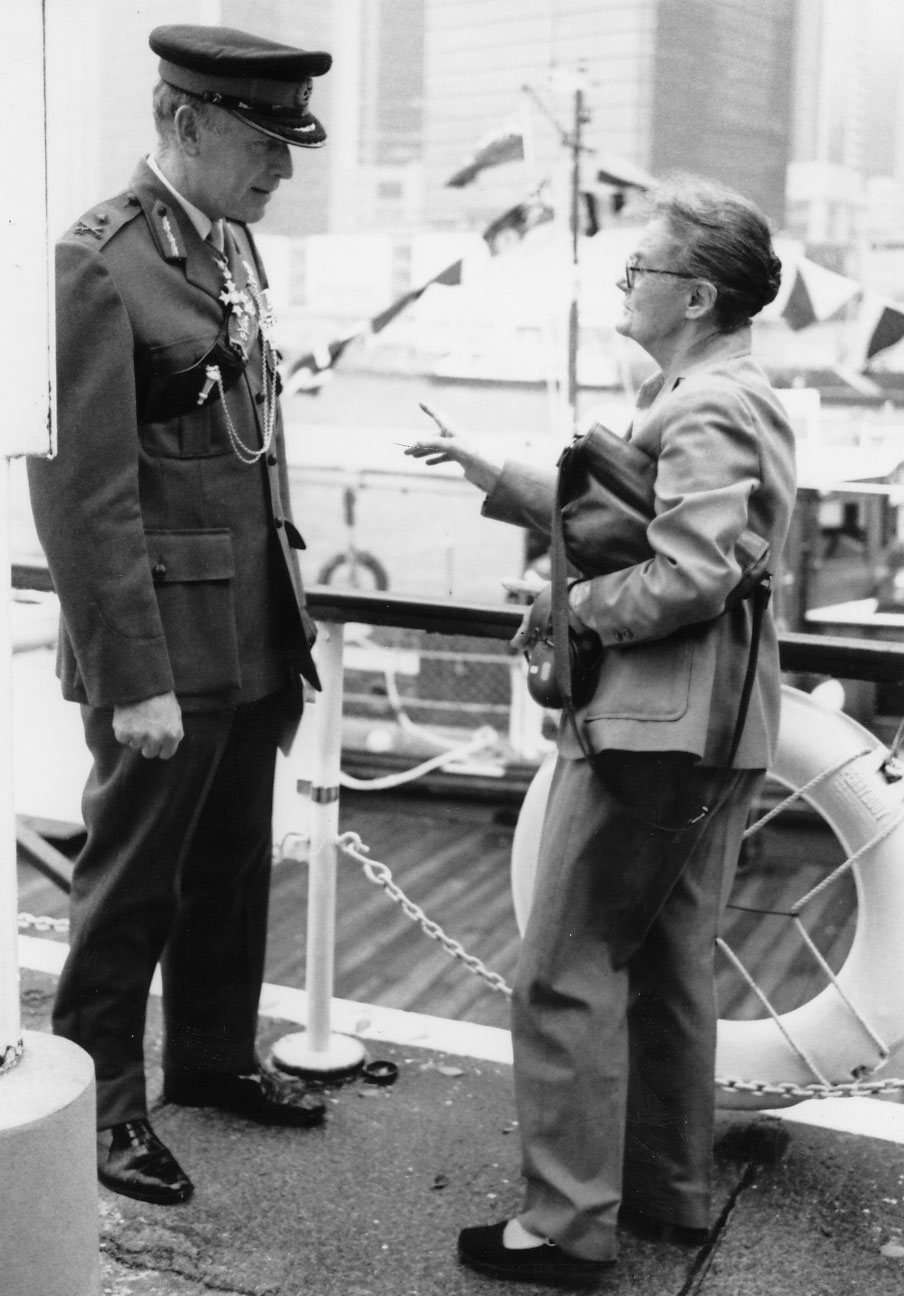 Clare Hollingworth meets with a senior British army officer in Hong Kong, 1980's.
