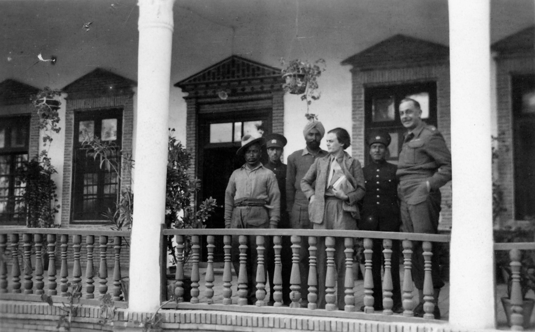 Clare Hollingworth on balcony of the British Mission in Tabriz, northern Iran, after the joint Soviet/British invasion of Iran in 1941.