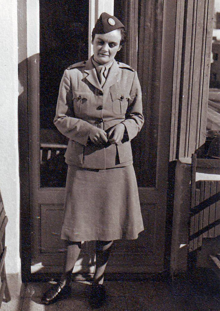 Clare Hollingworth in her official war correspondent uniform, 1940'