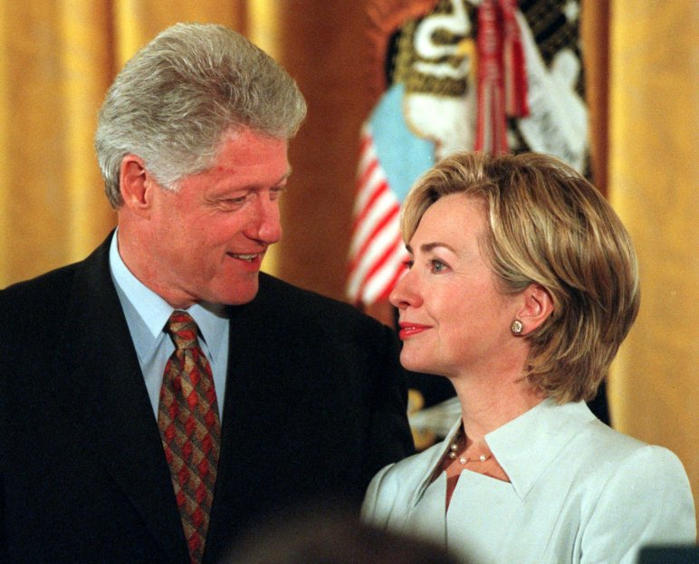 President Bill Clinton with First Lady Hillary Clinton during the Congressional Medal of Freedom ceremony at the White house in Washington on Aug. 11, 1999.