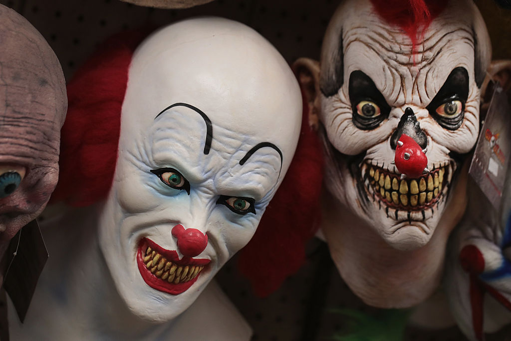 Halloween masks are offered for sale at Fantasy Costumes on Oct. 19, 2016 in Chicago, Illinois.