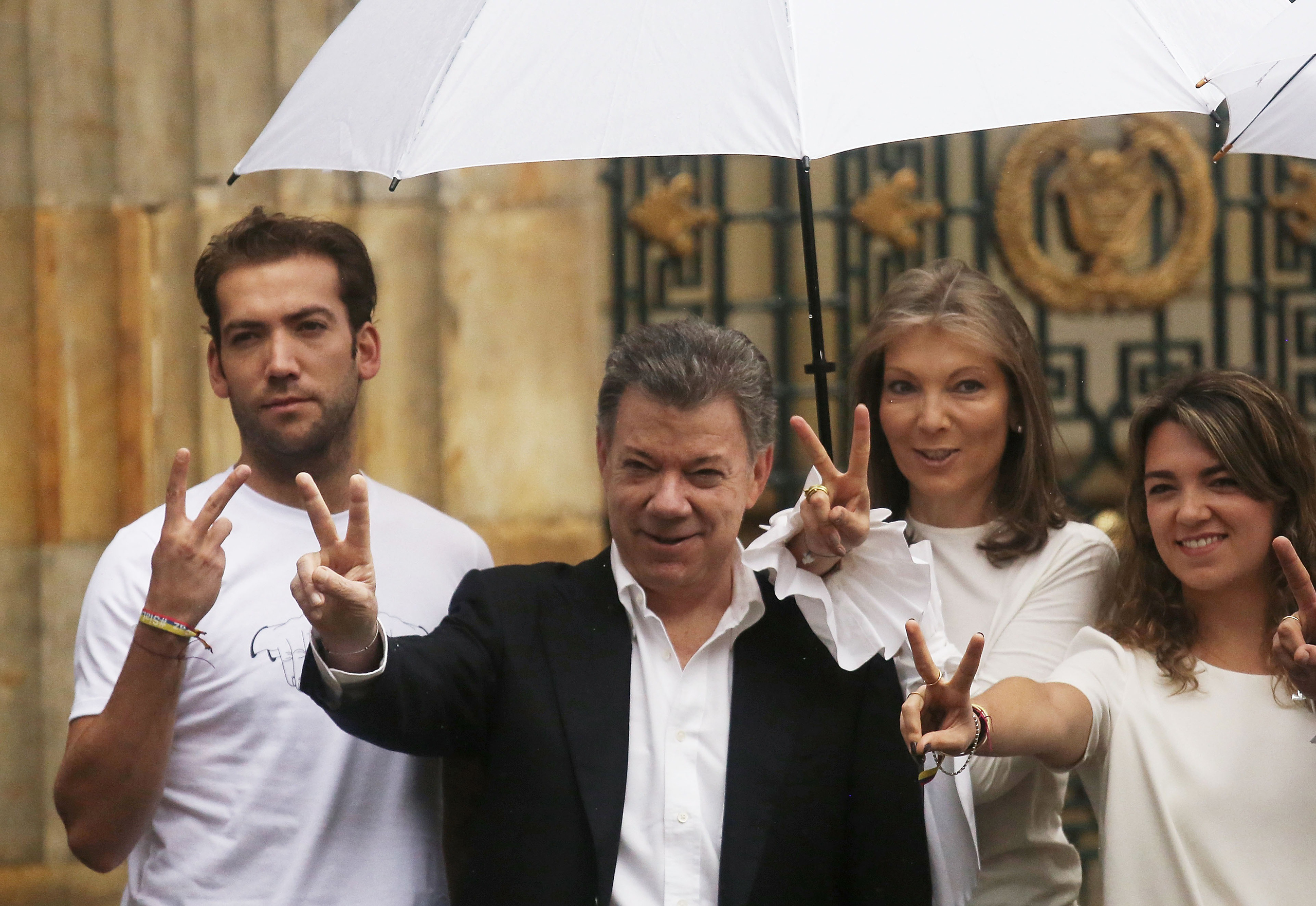 Santos with his wife and children after voting to end hostilities with FARC on Oct.2