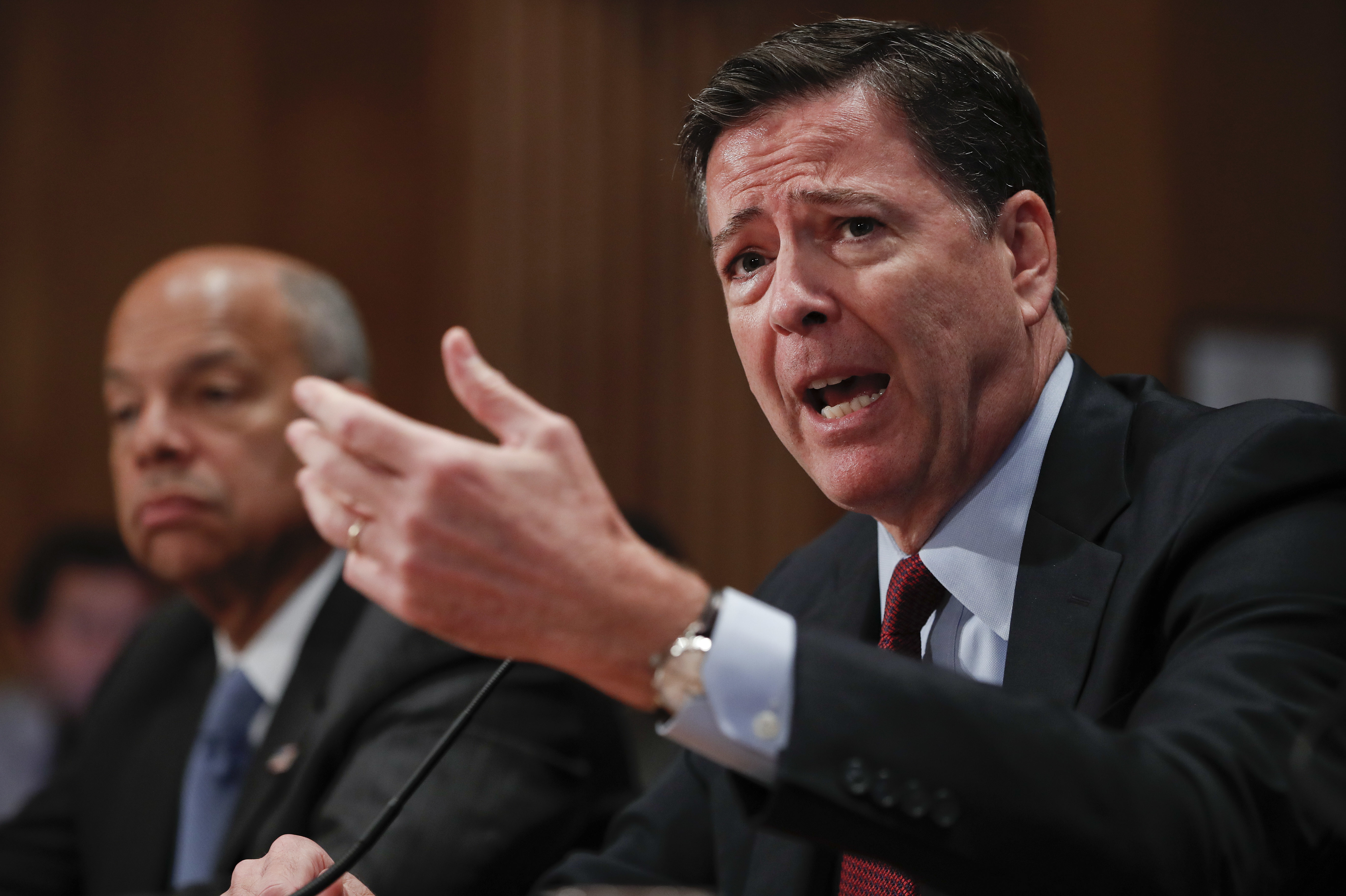 FBI Director James Comey responds to a question while testifying on Capitol Hill the agency's response to  extremist violence in Orlando and New York on Sept. 27, 2016.