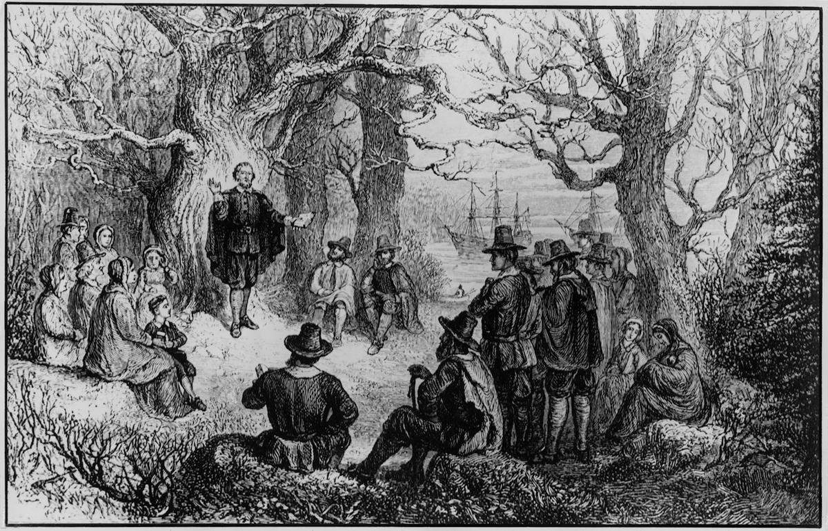 A 19th-century illustration of the founding of the colony of New Haven (in later Connecticut) by puritan preacher John Davenport, 1638.