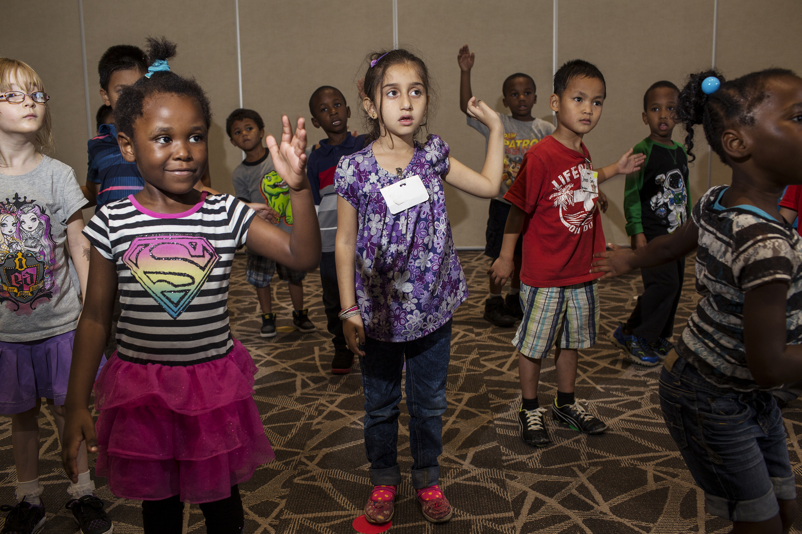 Hala Tameem, 6, and classmates during music class at Edmunds Elementary School in Des Moines, Iowa.