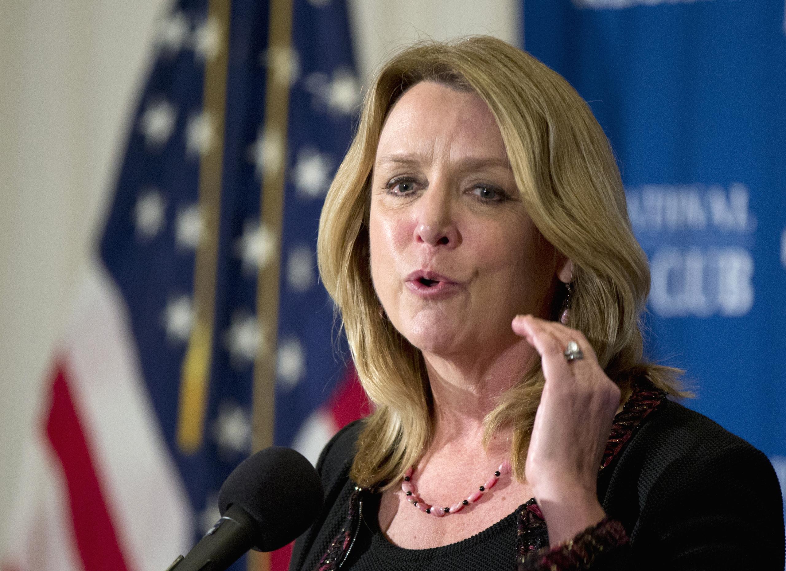 Air Force Secretary Deborah Lee James speaks at the National Press Club in Washington on Dec. 2, 2015.