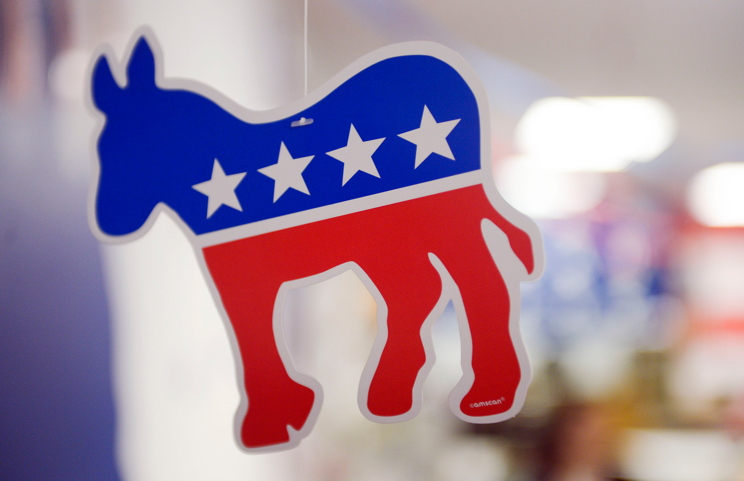 A paper donkey hangs from the ceiling at the Virginia Victory Coordinated Campaign Field Office in Arlington, Va., on Oct.8, 2016.