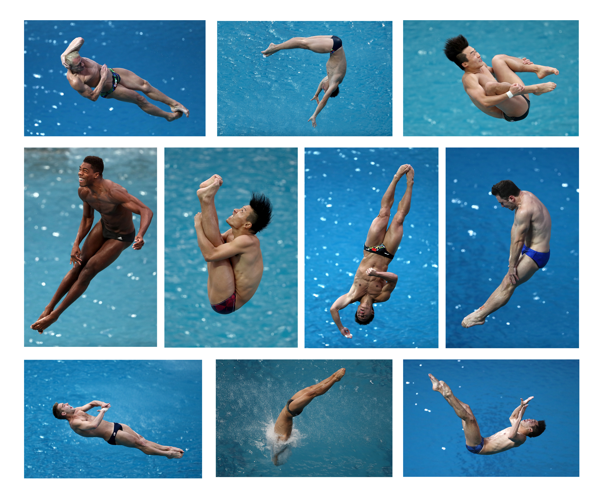 Divers during the 3 meter Springboard Preliminary Round.